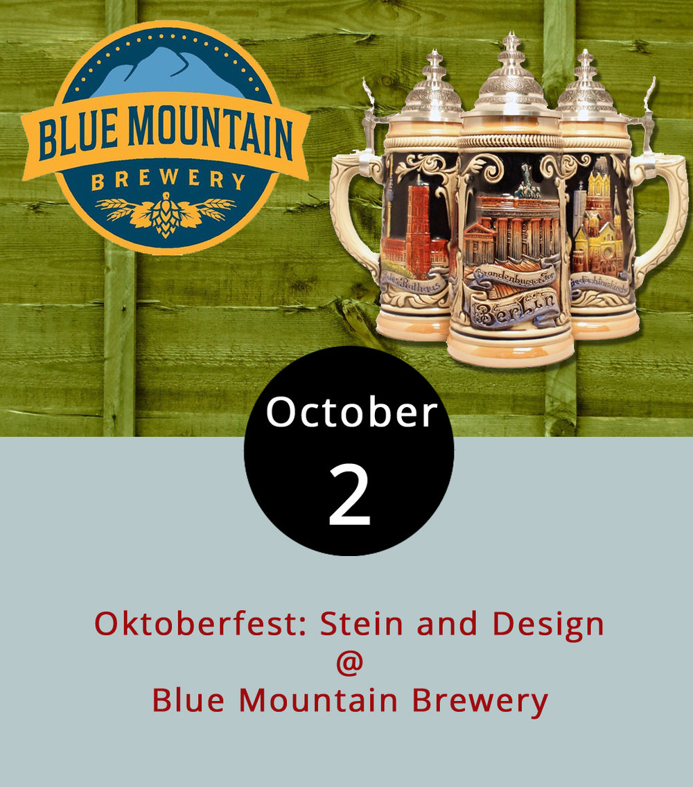 Painting and drinking brews. Sounds like a pretty solid Tuesday evening they're hosting tonight at Afton's Blue Mountain Brewery (9519 Critzers Shop Rd.). Try a hand at artwork or at least learn some watercolor basics from 6:30-8:30 p.m. as part of the brewery's ongoing Oktoberfest celebration. A  Wine & Design  artist will be on hand to lead a class in creating a scene with a Blue Mountain growler in front of a Blue Ridge backdrop. Tickets are $35 and can be purchased  here , a link that also includes a picture of the scene to be painted. Food and beverages may be purchased from the brewery. Check out the menu  here . Call Blue Mountain at (540) 456-8020 for more information.