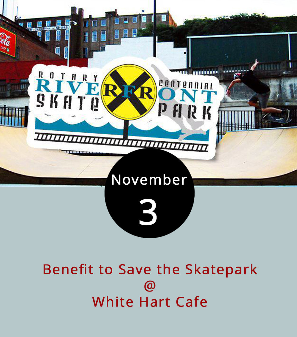 "Following a rally last weekend, the local youth movement ""Save our Skatepark"" is looking to gain momentum with a concert at White Hart Cafe (1208 Main St.). Basically, skaters want the city government to take over management of  Rotary Centennial Riverfront Skatepark , currently owned by Amazement Square. Skaters say the park is closed more often than not, and they want it to become a use-at-your-own risk park open dusk to dawn like other municipal parks. The free concert featuring local bands Xenith and Sin is meant to raise awareness and support for the endeavor. For more information, check out the Save our Skatepark Facebook  page ."