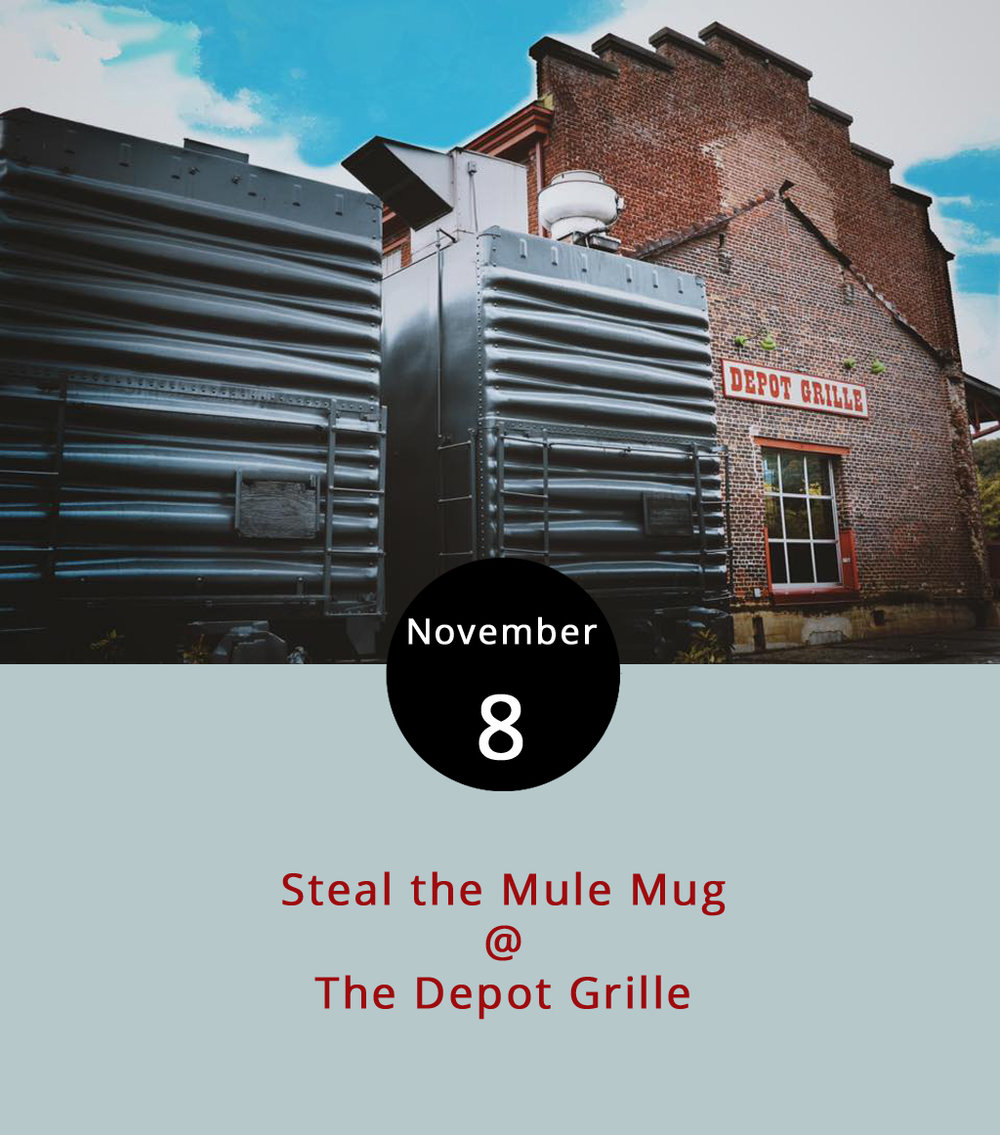 Every week there's a chance to take home pint glasses branded by breweries shopping their best libations at local restaurants. But The Depot Grille (10 9th St.) is putting a new spin on things: serving up mule drinks in a copper mug patrons can take home (while supplies last) from 5:30-8:30 p.m. While the traditional Moscow mule, named after the imported copper cups they came in, was a mix of vodka, lime and ginger beer, alcohol enthusiasts have evolved the drink to a variety of mules named for the type of alcohol used. The Depot will be featuring Ketel One vodka, Tanqueray gin and Bulleit bourbon in their mules. Check out the Depot's Americana menu,  here . For more information about the event, click  here  or call (434) 846-4464.