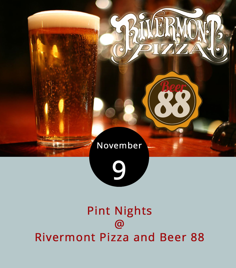 "Thursday generally means pint night here in the Hill City, and we've rounded up at least two events where bars plan to dedicate their taps on specific brewers and give away branded glassware to match. Rivermont Pizza (2496 Rivermont Ave.) will host Alexandria's Port City Brewery starting about 6 p.m. tonight and ending with last call at 1:30 p.m. RP will feature the ""occasional"" release Integral IPA as well as the flagship's Optimal Wit, Downright Pilsner, Port City Porter and Monumental IPA. For more info on the beer, click  here . Beer 88 (113 Hexham Dr.) will host Tampa's Cigar City Brewery tonight starting at 5 p.m. We didn't get the beer list by our deadline, but keep an eye out on their Facebook  page  where they're likely to post it."