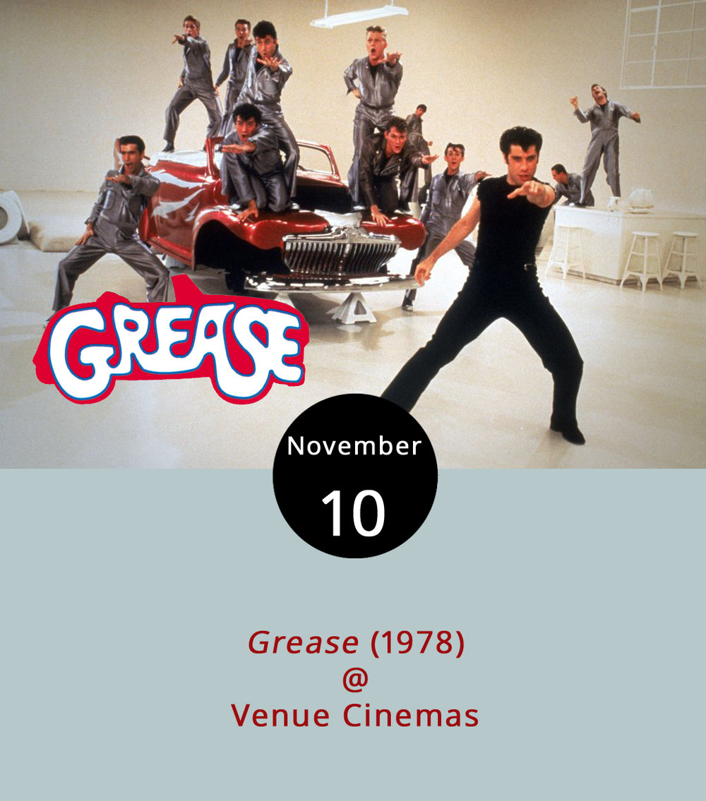"Last week, the Sharks and the Jets returned to the silver screen as Venue Cinemas (901 Lakeside Dr.) puts the classics in the spotlight. This week, it's the T-Birds and the Pink Ladies in the iconic musical  Grease  (1978). Summer love happened so fast between Danny Zuko (John Travolta) and Sandy (Olivia Newton-John). But complications ensue when Sandy unexpectedly transfers to Danny's high school and finds that he is not the sweet sensitive boy she met on the beach. Along with conflicted love, the film sends both groups of teenagers soul searching through song. (See ""Beauty School Dropout"" sung by an angelic Frankie Avalon). Showtimes are 12:00, 2:30, 5:00, 7:30 and 10:00 p.m. today through Nov. 15. For more information, click  here  or call (434) 845-2398."