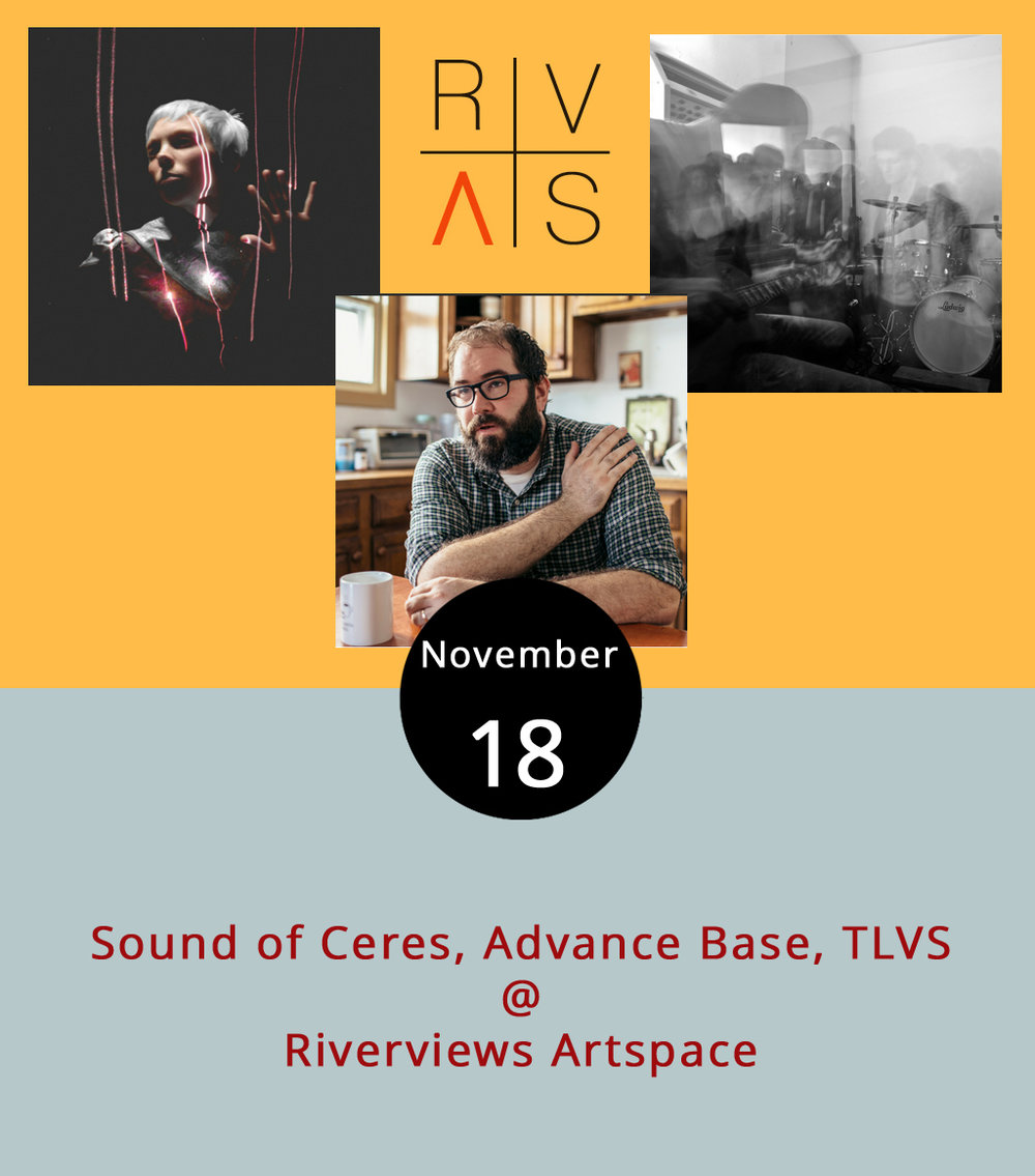 "The three ""atmospheric electronica"" performances tonight at Riverviews Artspace (901 Jefferson St.) are a bit out of the ordinary for the Hill City. The show features national touring acts Sound of Ceres and Advance Base who will be joined by the local artists TLVS (The Late Virginia Summers).  Sound of Ceres  is on tour with their performance of   The Twin  , a changing musical expression performed with light, sound and words.  Advance Base  is the moniker for Chicago-based Owen Ashworth who mixes electronic music with a solo singer-songwriter motif. And the Lynchburg-area band  TLVS  describes their style as ""avant garde without needing decryption,"" although we're not sure how to translate that. Tickets are $10 at the door, which opens at 7:30 p.m. for the 8:15 p.m. show. A cash bar will be available. For more information, click  here  or call  (434) 847-7277."