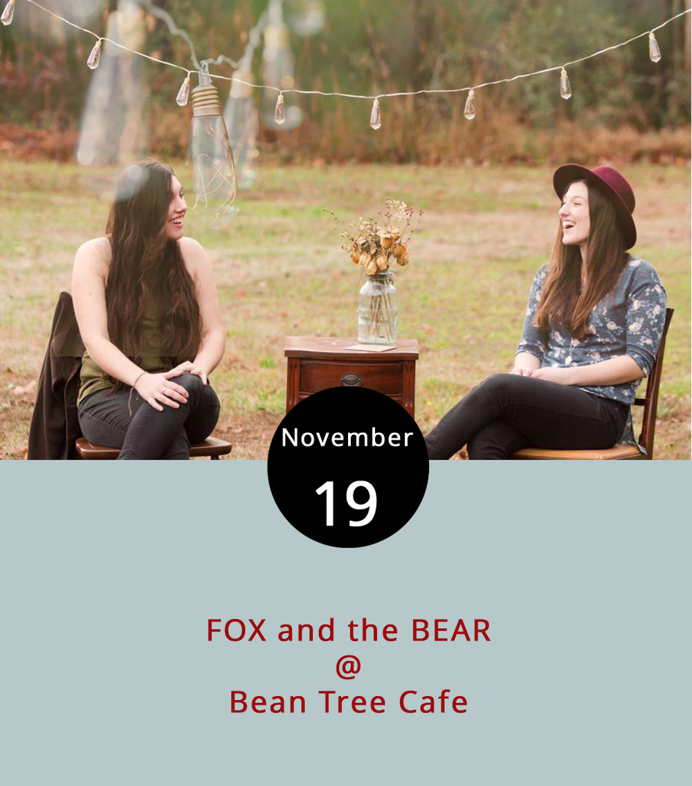 Bean Tree Cafe (105 Cornerstone St. #106) hosts a show tonight that should help ease the transition from weekend into weekday as a sisterly duo FOX and the BEAR (named for each of their favorite animals) perform from 7-9 p.m. As  FOX and the BEAR , Jamie & Jeena Anderson from Virginia Beach perform indie folk (scroll down a bit after clicking the link to listen). They're working on a full album after releasing their self-titled EP in January. Along with their self-written lyrics, they generally switch among a handful of instruments, including guitar, ukulele, mandolin, tambourine and a kick drum made from their great-grandmother's suitcase, according to their website. For more information, click  here  or call (434) 534-3210.