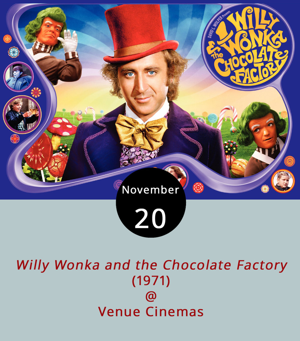 Wonka bar anyone? What better place than a candy factory to explore the sins of gluttony and greed paired with a child's wonder and aging man's dreams? And don't forget the singing in the sweet-tooth classic,  Willy Wonka and the Chocolate Factory (1971), directed by Mel Stuart. Join the gold-ticket winners, including the impoverished Charlie Bucket (Peter Ostrum) who chances upon a chocolate bar containing the last winning ticket and embarks on a once-in-a-lifetime tour of the reclusive Willy Wonka's (Gene Wilder) factory. Join the chocolate tour and singing Oompa Loompas at Venue Cinemas (901 Lakeside Dr.) as they continue to bring classics to the big screen. Showtimes are 12:00, 2:20, 4:40, 7:00 and 9:20 p.m. from Nov. 17-23. For more information, click  here  or call (434) 845-2398.