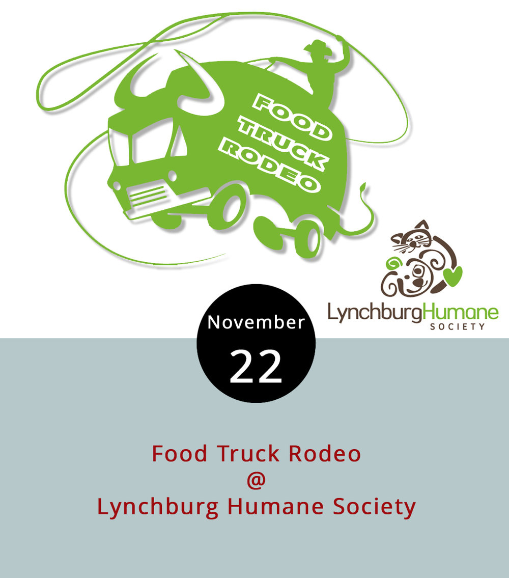"Lynchburgers don't have to wait until tomorrow to delight in a fine culinary spread. Several food trucks will gather for lunch today at the  Lynchburg Humane Society  (1211 Old Graves Mill Rd.) for the monthly ""Bow Wow"" from 11 a.m. to 2 p.m. Uprooted, Action Gyro, Mama Crockett's Cider Donuts and Nomad Coffee are signed up for the event. It's probably a good time to check out the Humane Society facility and maybe interview a few potential furry friends who are looking for new homes. For more information and updates, click  here  or call (434) 448-0088."