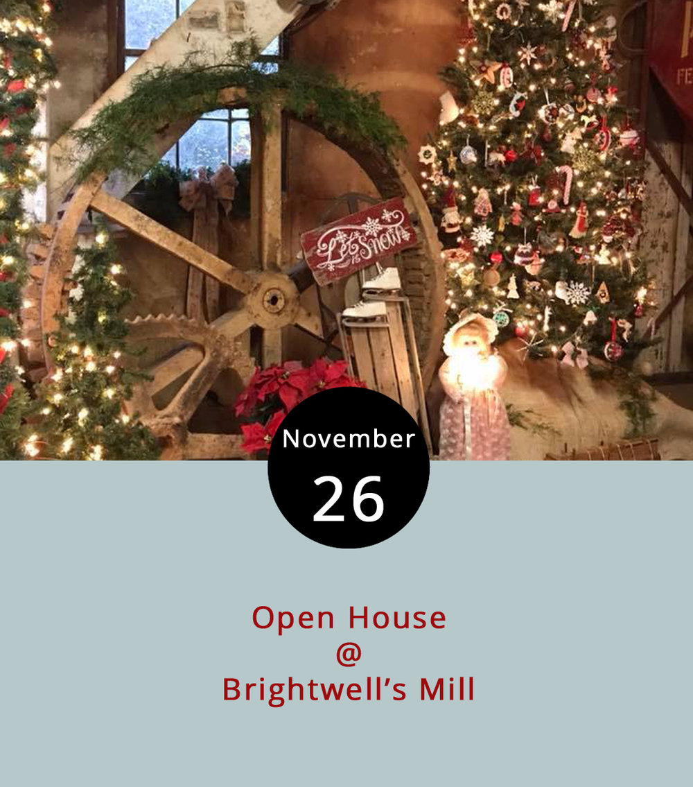 Although  Brightwell's Mill  (684 Brightwell's Mill Rd., Madison Heights) is still undergoing renovations, they've got it up and running enough to have an open house/fundraiser today. From 1-4 p.m. today, the mill will be decorated for Christmas at an event featuring a certain jolly old guy who goes by the name Santa. They'll have Brunswick stew and mill merchandise for sale, including calendars, T-shirts and ornaments as well as live music by Clearwater Branch. Tours will also be offered. The plan is to restore the mill to its orginal early 1800s condition, enabling it to serve as a historical resource and educational tool. Money raised today will go toward  those efforts. For more information, click  here  or call (434) 610-6135.