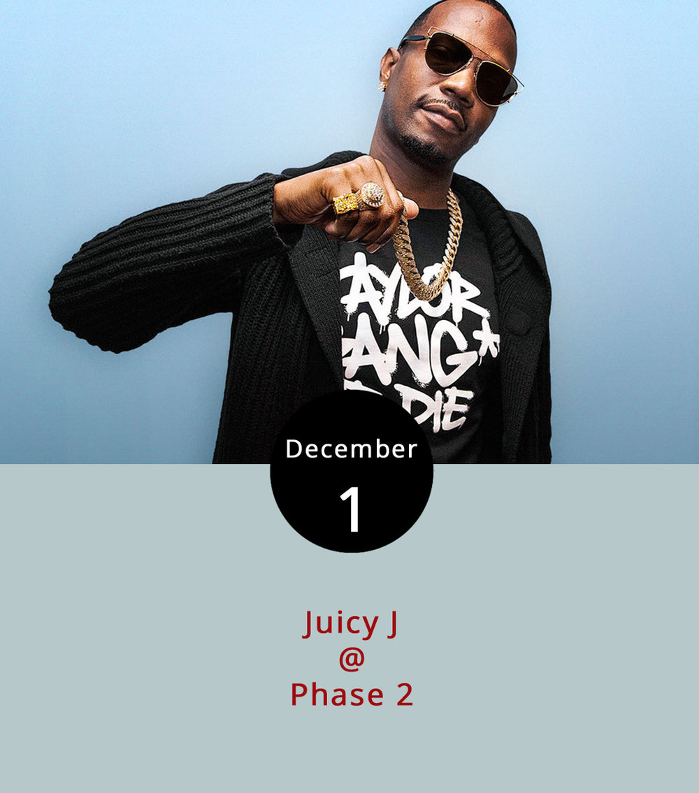 "Although not performing with the rap group Three 6 Mafia, Memphis rapper and producer Juicy J is still going with the recently released "" Flood Watch "" featuring Offset this year and is performing tonight at Phase 2 (4009 Murray Pl.). He's performed on seven hits in Billboard's top 25, generally as a collaborator with acts including Wiz Khalifa, Lil Wayne and Trey Songz, the latter of which came to Phase 2 last weekend. Also featured tonight is special guest Lil James of  The Money Team . Doors open at 9 p.m. and the show is 18 and over.  Tickets  range from $40-$70. For more information and updates, click  here  or call (434) 846-3206."