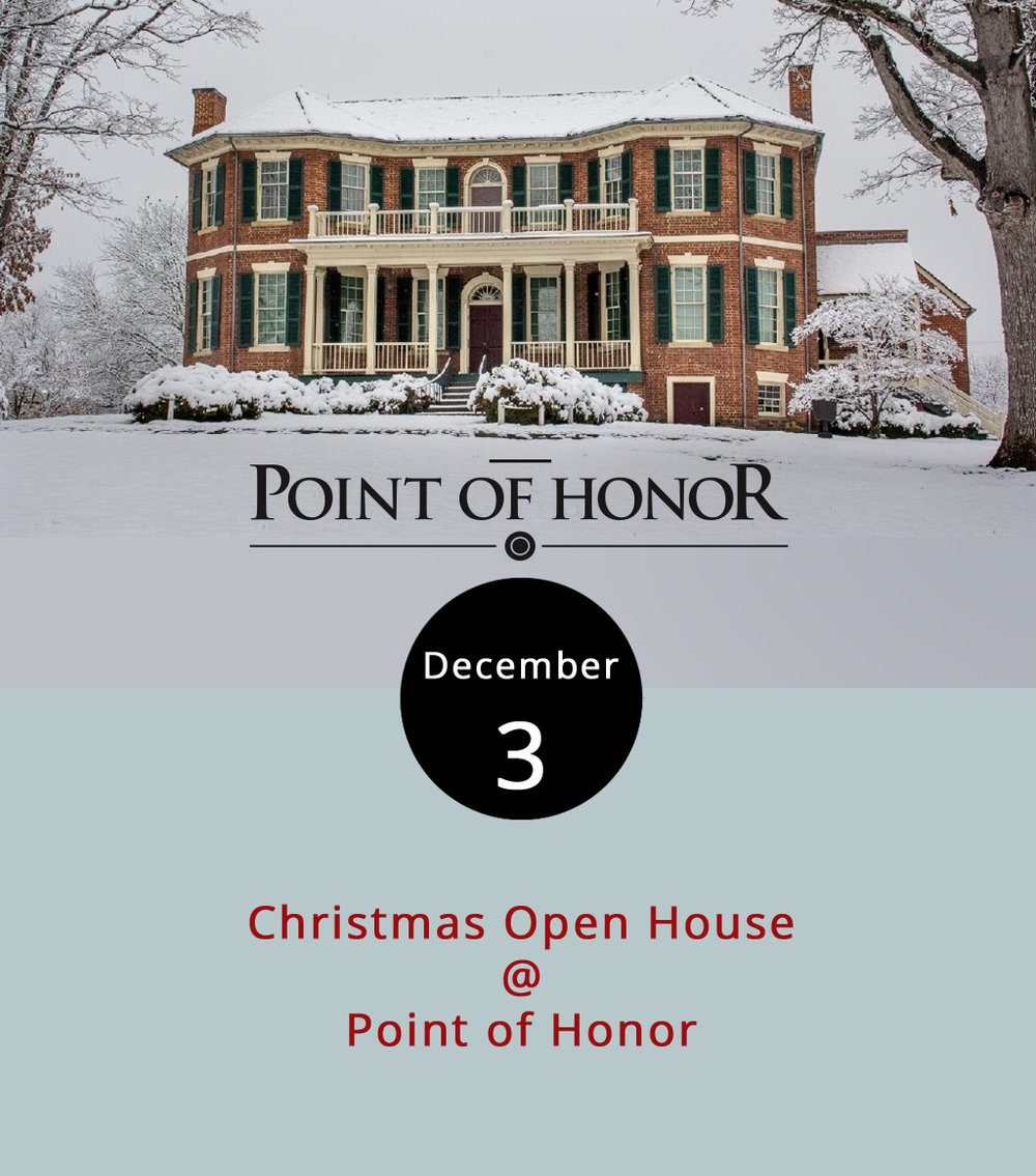 "We're not sure what celebrating Christmas in 1815-style means. But if you're curious, check out Point of Honor (112 Cabell St.) today for their Christmas Open House. Tour the historical home, also called Dr. George Cabell's Mansion on the James, for free today. The mansion, home to Cabell, a physician to revolutionary Patrick Henry and correspondent to third president Thomas Jefferson, will be decked in period costume and with ""live greens,"" according to the event's Facebook page. Visitors can learn history going back to the days before the mansion's construction when Monacan natives camped near the James in that spot. For more info about its history, click  here . For more information about the event, click  here  or call (434) 455-6226."