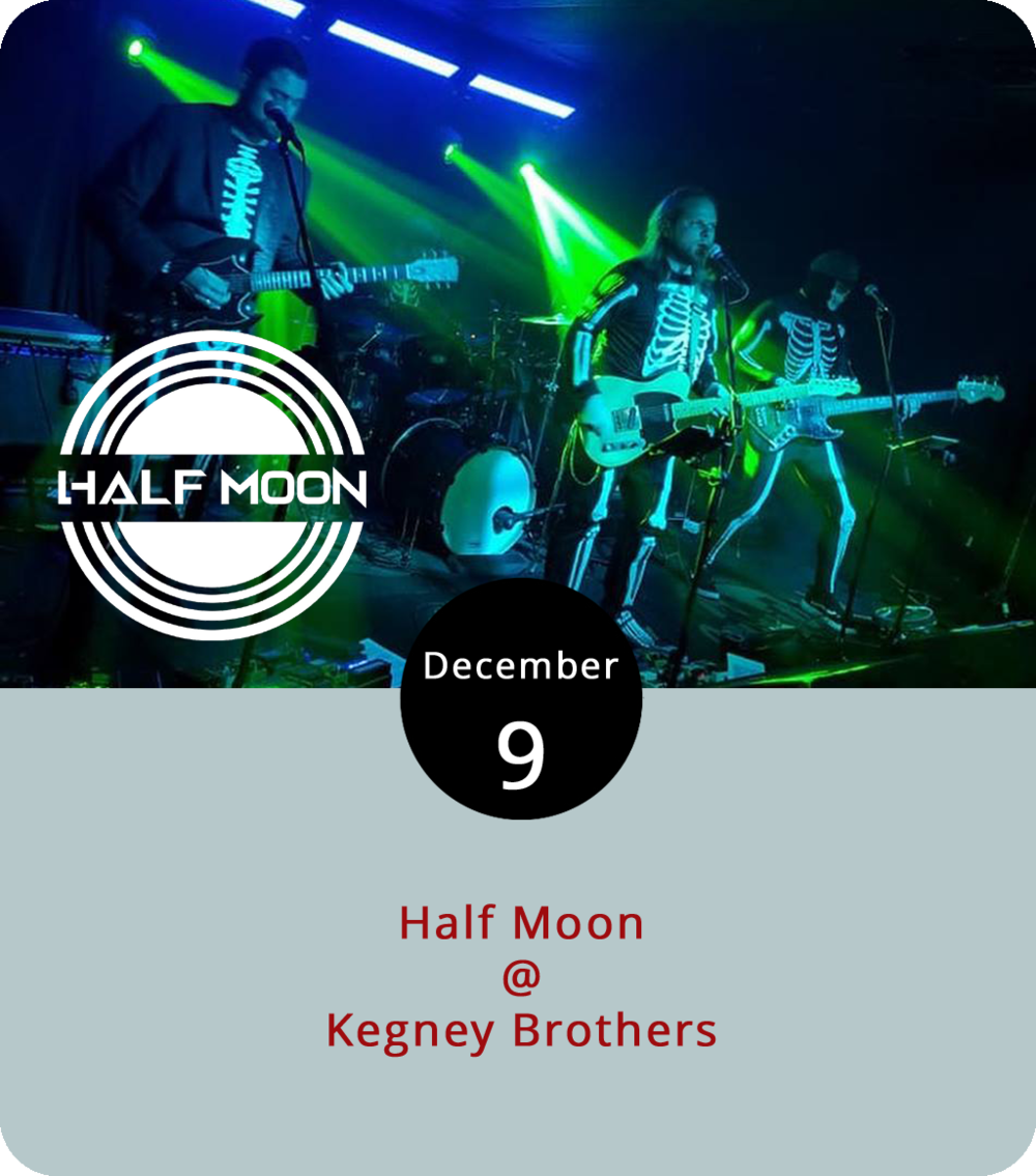 There's a decent chance Kegney Brothers (1118 Main St.) burns down in a good way tonight as jack-of-several-trades Half Moon takes to the tiles. The Roanoke-based soul, funk and rock band will open up with their original  tunes  at 10 p.m. They like to mix it up at their shows, so expect some improvisation and jamming. After a break they'll come back with a selection of covers from Talking Heads, David Bowie and Hall and Oates. The band often performs dual sets in which they perform half of their own and then another entire set of a specific band, but they're pulling from all three of the listed artists tonight. For more information, click  here  or call  Kegneys  at (434) 616-6691.