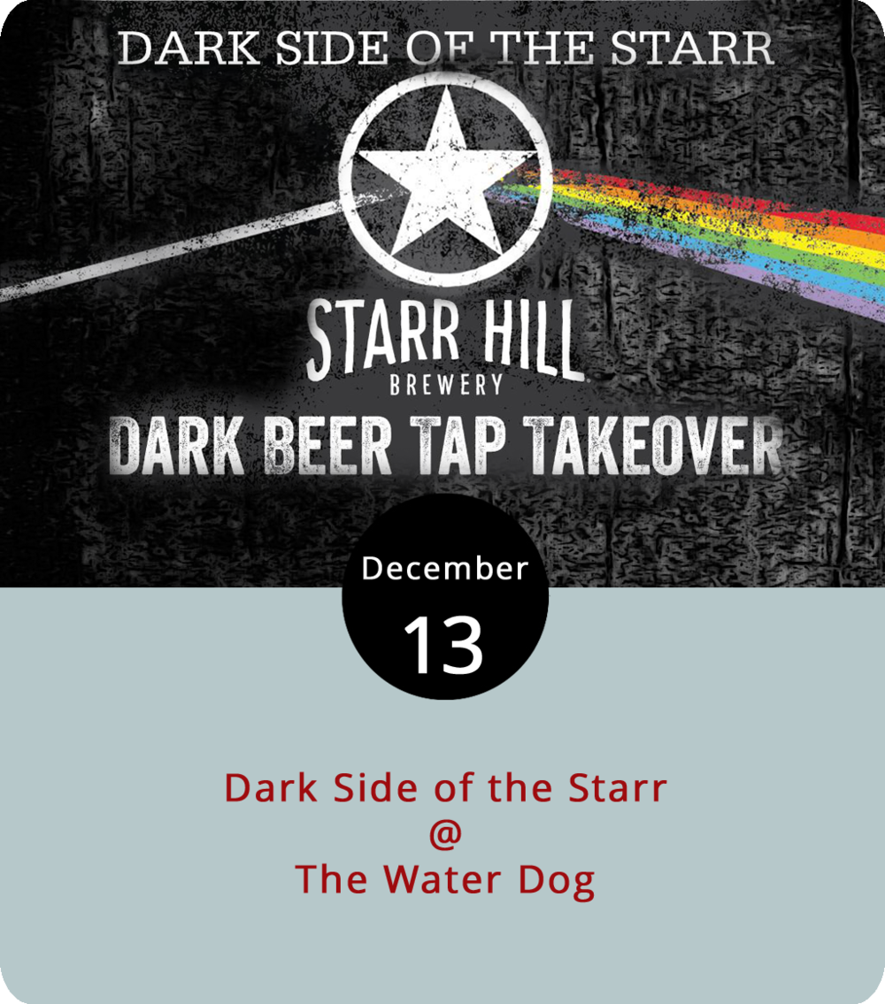 Now that the first snow has fallen over the Hill City, it's even more appropriate to shift into drinking thick and hearty beers (namely stouts and porters), brewed to keep folks warm amid chilling winter months. And Charlottesville's Starr Hill Brewery is making barroom rounds to shop its winter lineup, including a visit to The Water Dog (1016 Jefferson St.) tonight from 4-11 p.m. where they'll feature brews with rich flavors, such as chocolate, coffee, peppermint and caramel. Two of the brews are 7.8% abv limited releases of the Double Bass Double Chocolate Stout, one flavored with peppermint. They'll also offer the limited release Dark Starr Dry Irish Stout, the rotating 2 Tone Vanilla Porter and the seasonal Snowblind Doppelbock Lager. For more information about Starr Hill brews, click  here . For more info about the event, click  here  or call (434) 333-4681.