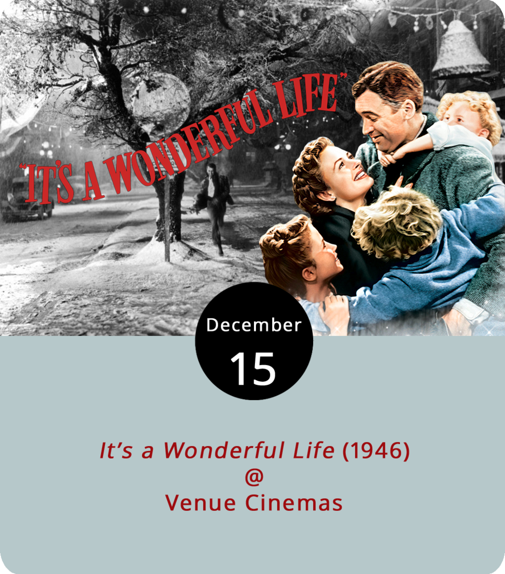 Every time someone watches  It's a Wonderful Life  (1946) an angel gets its wings. So help start a new heavenly choir over the next week as Venue Cinemas (901 Lakeside Dr.) shows the Christmas film as part of its holiday classics series this month. In  It's a Wonderful Life , directed by Frank Capra, affable husband and father George Bailey (James Stewart), in a plot twist that no one ever really remembers, realizes that he is worth more dead than alive. Clutching his life insuarnce policy, wishing he had never existed and contemplating suicide, Bailey is visited by the wingless angel Clarence (Henry Travers) who shows him what a Bailey-less Bedford Falls would look like. Showtimes are 12:30, 3:30, 6:30 and 9:30 p.m. Dec. 15-21. For more information, click  here  or call (434) 845-2398.