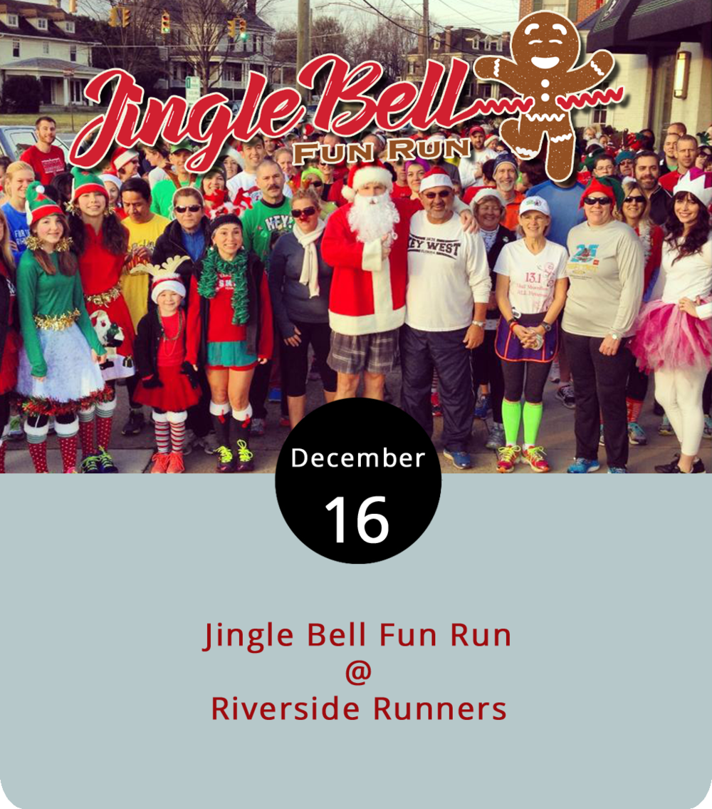 The bells jingling in the Rivermont Avenue area this morning probably aren't Santa Claus or his reindeer but rather a jolly jogging group of all ages. The Christmas fun run starts at 8:30 a.m. at Riverside Runners (2480 Rivermont Ave.) and is expected to last about 2 hours and up to five miles. All are invited and participants are encouraged to don holiday wear with prizes awarded for the most festive. They'll stop back at Riverside Runners for cookies and hot chocolate afterward. For more information, click  here  or call (434) 846-7449.