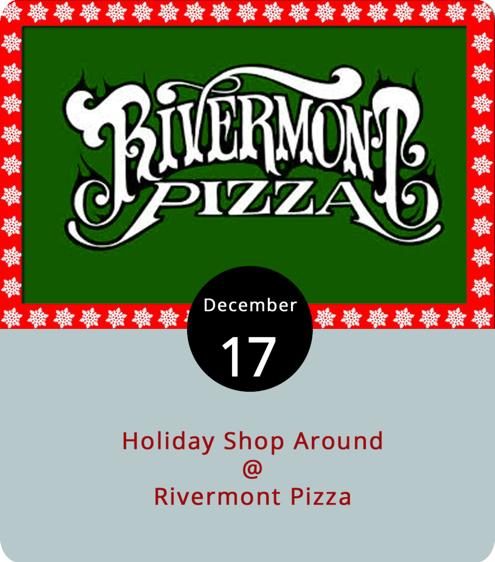 As we close in on the Christmas holiday, everyone's looking for that perfect gift for a family member, friend or the white elephant party at work. Rivermont Pizza (2496 Rivermont Ave.) wants to help out with that quest while supporting the local artisan scene, so it's hosting a Holiday Shop Around today. From noon to 8 p.m., RP's backroom will fill up with artisan vendors, including  Blackwater Bitters ,  Oxide Pottery ,  Little Paper Crane  (jewelry),  Storm+Stress  (jewelry),  Stone Spice Co. ,  Golf Park Coffee Co. ,  Leather Hags  and others.  Ned's Beer Shop inside RP will be open as well. It's also worth mentioning that Sunday is wing day at RP, a special they only offer during football season and while supplies last. For more information about the event, click  here  or call (434) 846-2877.