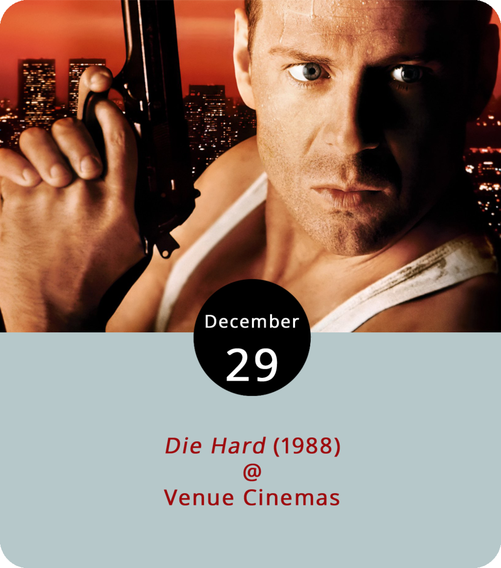 There's been a fair amount of disagreement on the old Internet about the original 1988  Die Hard  movie. Basically, there are those who hold that the Bruce Willis blow-'em-up action drama is indeed a Christmas movie, and those who believe that this is completely and utterly wrong. Directed by John McTiernan and starring Willis as a tough yet tender hearted down-and-out NYPD cop by the name of John McClane, the film takes place during the holiday season, with McClane arriving in LA to attempt a reconciliation with his estranged wife (Bonnie Bedelia). She's at a fancy company Christmas part in a big office building that some terroristy dude named Hans Gruber (Alan Rickman) has coincidentally decided to destroy on that very evening. Action heroics, gunplay, and witty quipery ensues. We don't want to spoil the spectacular finish but let's just say that McClane survives to participate in several sequels. Showtimes are 12:30, 3:30, 6:30 and 9:30 p.m. through January 4th.  Die Hard  is the last of Venue's classic holiday film series, but they're planning to keep screening older fan favorites, including the four Indiana Jones films one week at a time in January. For more information, click  here  or call 434-845-2398.
