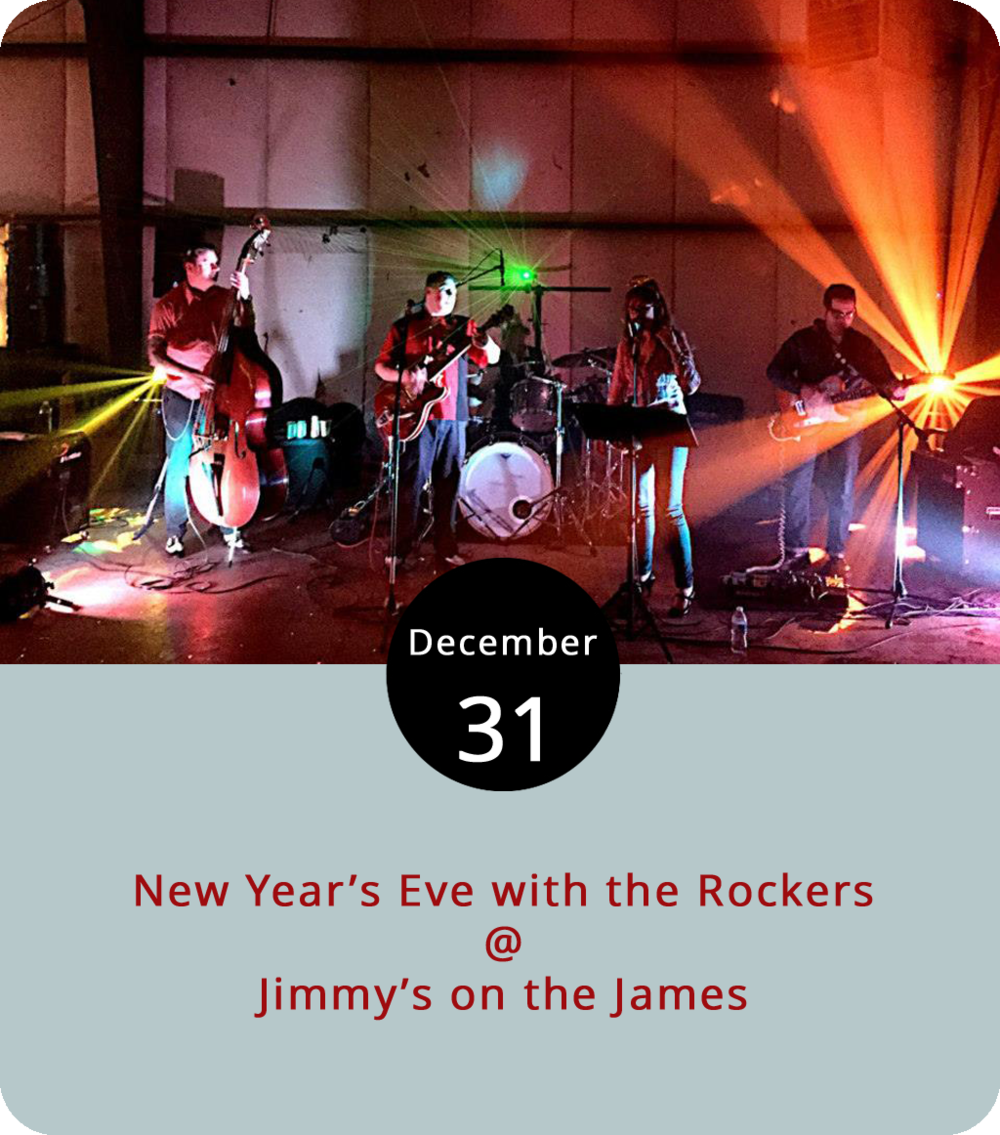 We don't yet have the full details on what they're planning for a New Year's dinner menu at Jimmy's on the James (610 Commerce St.), but we do know that one of Lynchburg's more stylish bands will be leading the festive proceedings from 9 p.m. until midnight.  Jenny and the B-Side Rockers  should keep things pretty well hopping with their mix of rockabilly and swing music. Chances are that reservations will be necessary, so give Jimmy's a call at (434) 845-1116 or check their  website  for updates.