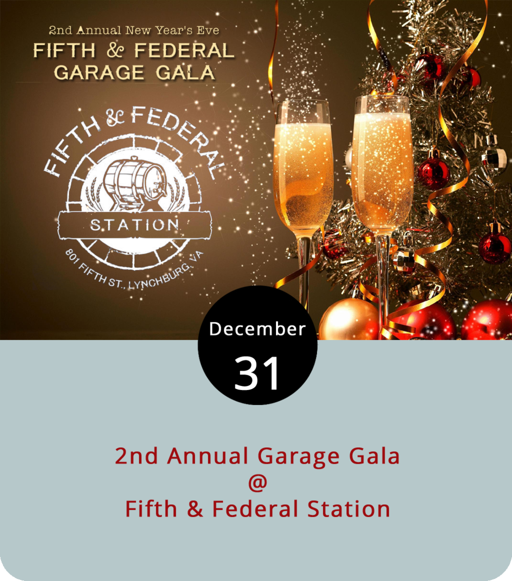 This time last year Fifth & Federal Station (801 Fifth St.) had just opened its doors in a space that used to be an actual garage right off of the 5th Street roundabout. Tonight they celebrate the New Year and pay homage to the building's more humble beginnings with a Garage Gala featuring a barbecue buffet, with beef, pork, and chicken, as well as pork rinds, nachos, and fruit cobbler; a steal-the-shotglass promotion with Jim Beam and Belle Isle Distillery varieties; the saxophone styling of Emmanuel Tetteh; and a midnight champagne toast. The eating, drinking, and merrymaking gets underway at 7 p.m. and goes until closing time. The regular  menu  will also be available for those who would prefer that, and reservations are a good idea. For more information and updates, click  here  or call (434) 386-8113.