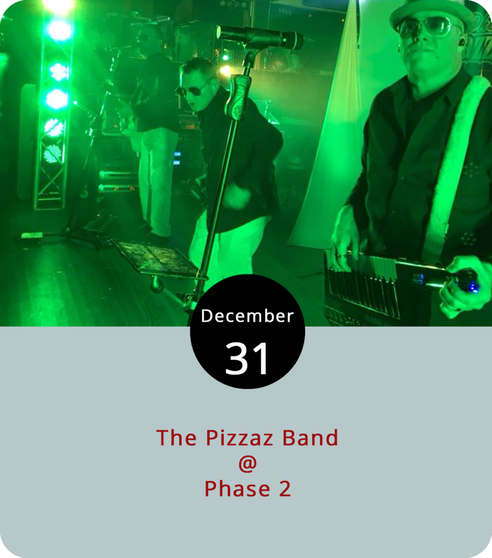 "One of the better dressed bands in Lynchburg have the stage tonight at Phase 2 (4009 Murray Pl.) for a New Year's Eve party that'll feature all the usual accountrements: champagne, party favors, and probably some kind or rendition of ""Auld Lang Syne."" The Pizzaz guys do all kinds of music and dress the part of an upscale wedding band. Phase 2 offers a variety of packages for this event: $20 if you just want to dance and hang out; $50 if you want a full dinner and dancing; and there are hotel and shuttle combos available as well. Doors are at 7:30. Call (434) 846-3206 for more info, or click  here ."
