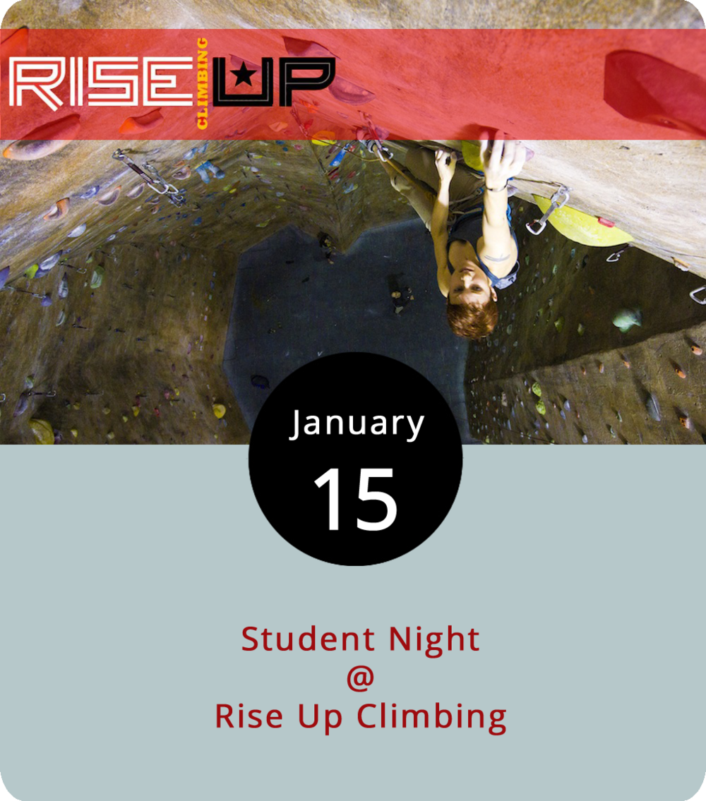 Lynchburg can be pretty sleepy on Monday nights, but one thing you can count on is the student night special at Rise Up Climbing (1225 Church St.). The deal gets students a pass good from 5-8 p.m. for $10 as well as gear for $3. Belay instructions, if needed, are $7. Anyone who doesn't know what belay means probably needs the lesson the first time. After about 30 minutes, though, you'll be ready to climb. A day pass and belay instruction usually cost $30 for anyone not already a gym member. Anyone under 18 automatically counts as a student for purposes of the deal as does anyone over 18 with a valid student ID. For more information, click  here  or call (434) 845-7625.