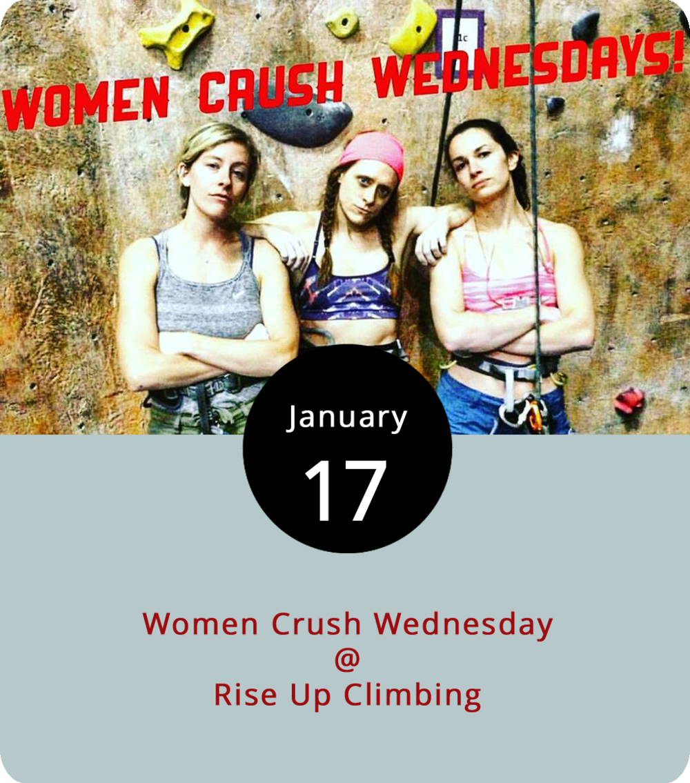 Rise Up Climbing (1225 Church St.) has committed to elevating the concept of ladies' night. Literally, that is, as they encourage more women to try their hand at climbing. Every Wednesday evening from 5-10 p.m, women receive discounts on climbing passes ($10), gear rentals ($3), and belay instruction ($7, if needed). Novice climbers can be up and climbing within about 30 minutes, according to the Rise Up website. Click  here  or call (434) 845-7625 for more info
