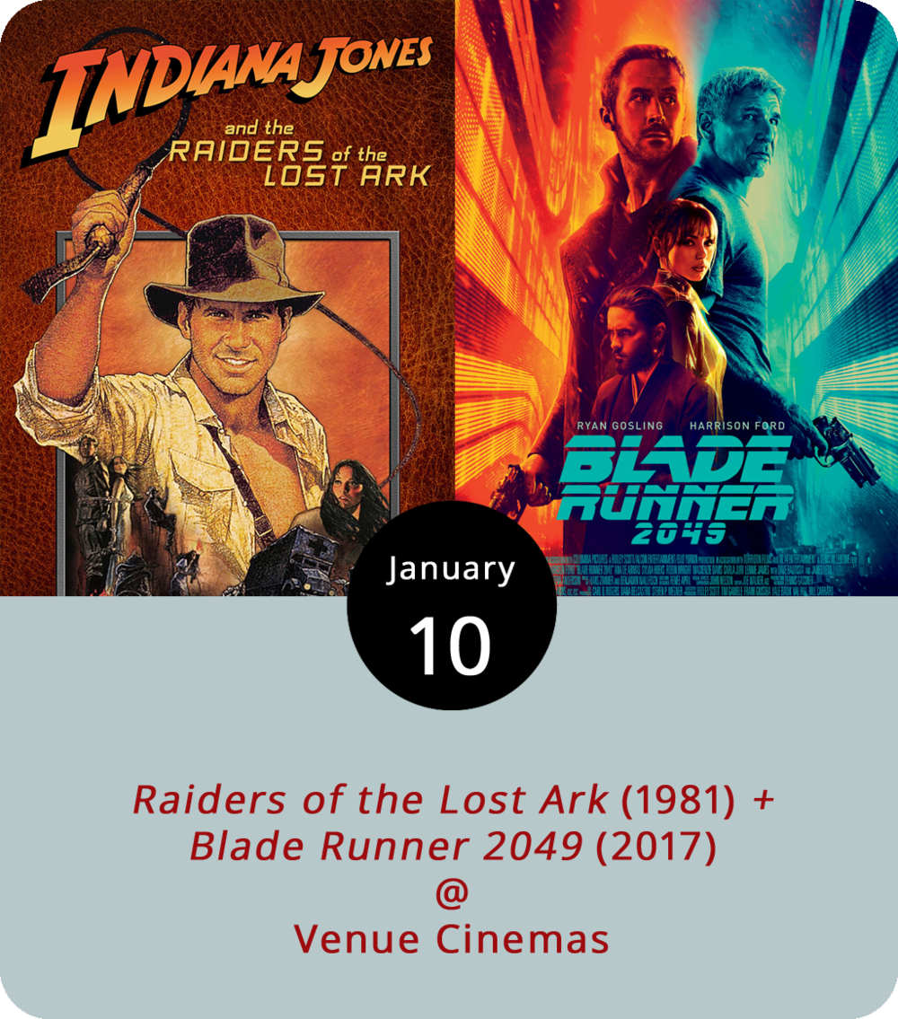 It's a double-shot of Harrison Ford on the big screen at Venue Cinemas (901 Lakeside Dr.) for the next two days, one classic, and one futuristic. In 1981's  Raiders of the Lost Ark  (12:30, 3:30, 6:45 and 9:45 p.m.), Ford makes his debut as Indiana Jones, an unusually adventurous archaeologist and university professor who does his best to stop the Nazis from getting their hands on the proverbial Ark of the Covenant. It's the first of the four Indiana Jones blockbusters Venue will be showing this month. In last year's  Blade Runner 2049  (12:15, 3:45, and 7:15 p.m.), Ford reprises his role as Rick Deckard, the android-chasing SFPD officer who hunted down a band of rogue replicants in 1982's  Blade Runner  while falling for an all-too-human creation named Rachael (Sean Young). This time, he's dealing with a whole new kind of replicant revolt. For more information, click  here  or call (434) 845-2398.