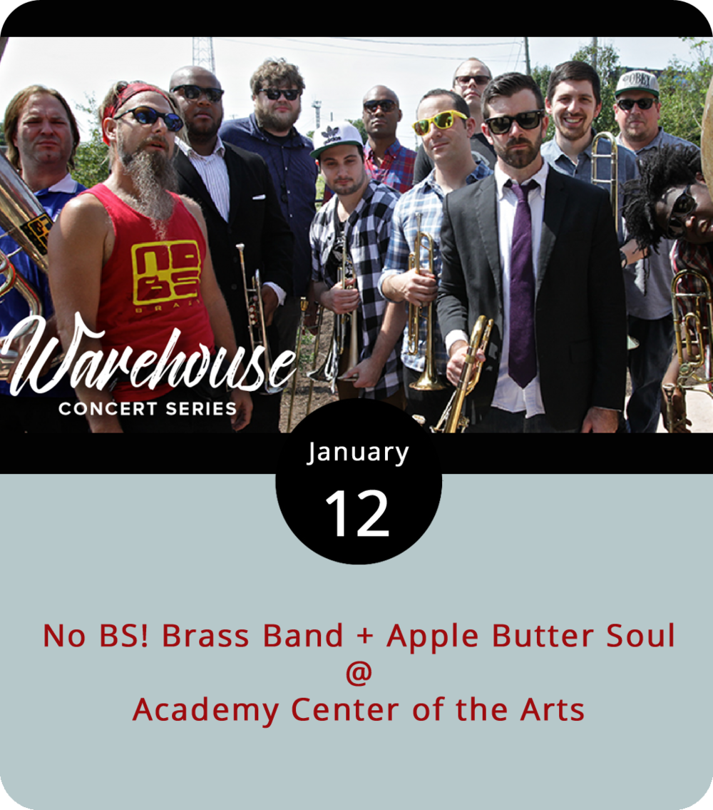 Brass bands are a famously funky New Orleans thing. There's the Dirty Dozen Brass Band, the Rebirth Brass Band, the Preservation Hall Jazz Band, and so many others. A little closer to Lynchburg we've got the No BS! Brass Band, an 11-piece group based out of Richmond who, in the Crescent City brass band tradition, are willing to take trumpets, trombones, and tubas to places you might not expect, from gritty James Brown jams to Led Zeppelin blooze rock. As part of the Warehouse Concert Series at the Academy Center of the Arts (519 Commerce St.), the No BS! boys team up with local jazzy funksters Apple Butter Soul for an evening of heavy grooves. Doors are at 7 p.m., and tickets are $20 in advance, $25 at the door. Call (434) 846-8499 or click  here .