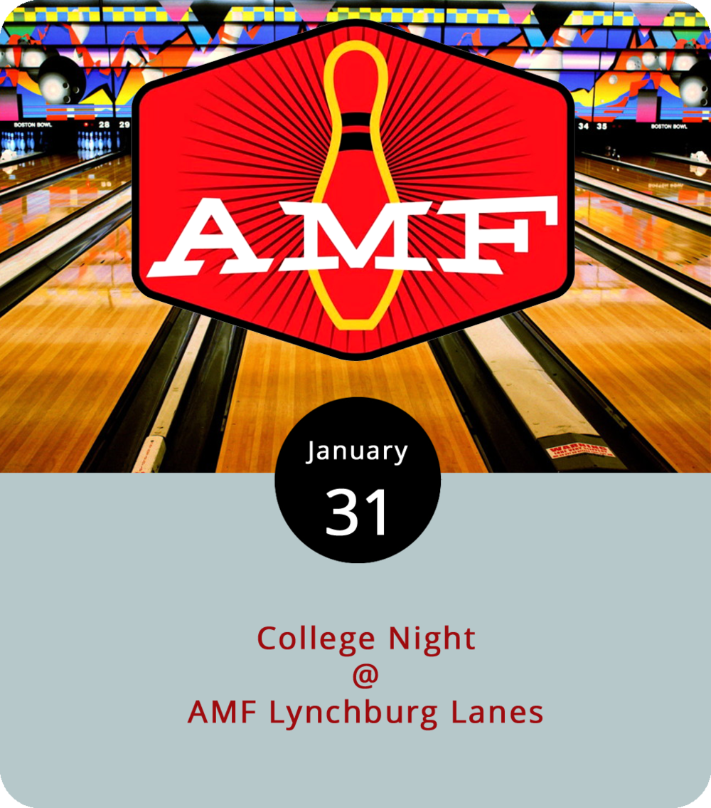 We always forget about bowling until we remember bowling. Then we get the gang together for a night on the lanes chucking heavy marbles into helpless pins and have a splendid time doing it. AMF Lynchburg Lanes (4643 Murray Pl.) offers a special most nights of the week, so it's worth checking out their  website  for the full schedule. Tonight they've got College Night, which means $2 tall boys and $10 pizzas starting at 9 p.m. for anyone with a valid college ID. Students can purchase unlimited bowling for $7, a price that includes rental shoes. The lanes are open until 11 p.m. For more information, call (434) 528-2695.