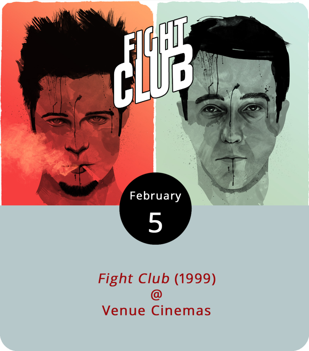 We're not supposed to talk about this week's classic movie special at Venue Cinemas (901 Lakeside Dr.), but we're going to go ahead and break what you might recall as rule number one. The David Fincher-directed adaptation of writer Chuck Palahniuk's breakout novel  Fight Club  (1999) is this week's classic pick. It stars Edward Norton as a guy searching for himself and some excitement as he muddles his way through a humdrum existence. What he finds is Brad Pitt in the guise of a very strange alter-ego. Together they enter a subterrean world of off-the-grid fisticuffs and discover something elemental about human nature. They also start a cult of sorts and things get a little complicated for Norton. We won't spoil the ending or the big reveal. The film screens through February 8, at 12:15, 3:15, 6:15, and 9:15 p.m. daily. Click  here  or call (434) 845-2398 for more info.