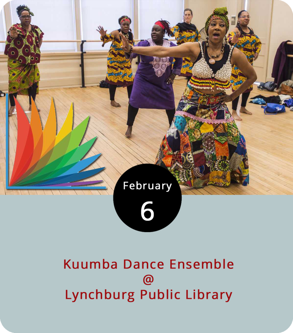 Although dancing is not unique to our species, there's something innately human about moving along with music, an act with the universality to bridge chasms in culture, geography, and race. As the Hill City celebrates Black History Month this month, Lynchburg Public Library (2315 Memorial Ave.) will hold a series on the West African traditions of Kuumba dancing and drumming. The free series begins tonight at 6:30 p.m. with a lecture and demonstration of the drumming, dancing, artifacts, and clothing of Kuumba. On February 13, they'll  hold an adult workshop on similar topics. And on February 15 there will be a children's workshop. For more information, click  here  or call (434) 455-6300.