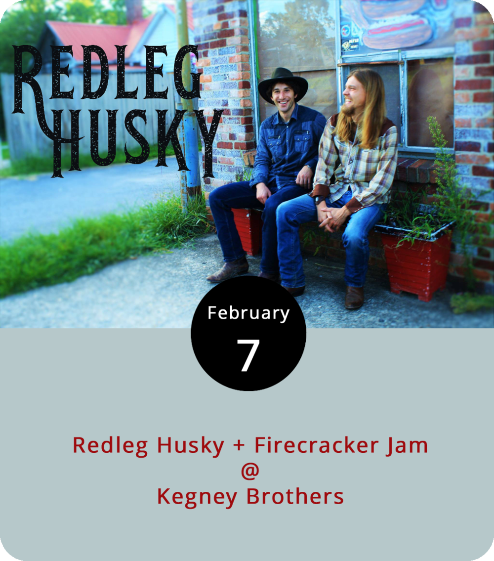 "The road has a way of calling musicians away from home and turning them into traveling troubadours. But life on the road is not all fun and games. The band Redleg Husky, who perform tonight at Kegney Brothers (1118 Main St.), offer  a whimsical account of touring in their deep-voice rootsy tune ""Hell is a Gas Station Bathroom,"" which has a rather amusing self-made video that you can check out  here . The Asheville-based country/bluegrass  band released the album  My Old Heart  in 2016. They're joined on tonight's bill by Lynchburg's own  Firecracker Jam , a mandolin-dirven trio who also know a thing or two about bluegrass. The show runs from 8-11  p.m. For more information, click  here  or call (434) 616-6691."