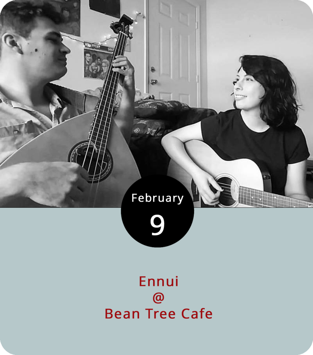 "Entertainment doesn't have to be complicated. Sometimes a couple acoustic guitars can do the trick. That's what in store this eveing at Bean Tree Cafe (105 Cornerstone St. #106), where the South Carolina duo  Ennui  will hold forth from 7-9 p.m. with a sound that is simple and soothing. The group – Lara Maraqa and Tommy Cassidy – perform a mix of originals and covers. While they don't have a formal album out, you can check out their  Soundcloud  page for a solid  rendition of Gillian Welch's ""Hard Times."" Click  here  or call (434) 534-3210 for more info."