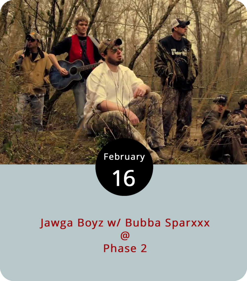 "Not many artists find their music competing on both country and rap charts at the same time. But Jawga Boyz, who perform tonight at Phase 2 (4009 Murray Pl.), aren't just any old band. They blend hip-hop beats and country music in spirit and in groove. The band's 2014 album   Tailgate Music  made a mark on the  Billboard  rap and country charts. We'd love to give an update on the group, but recent info from the Georgia band isn't readily available. They'll be joined by country rapper Bubba Sparxxx and Lowlife in what Phase 2 advertises as a ""Beer Drinkin' and Hell Raisin' Good Time!"" Doors open at 7 p.m. for the 8 p.m. show. General admission  tickets  are $10; call (434) 846-3206"