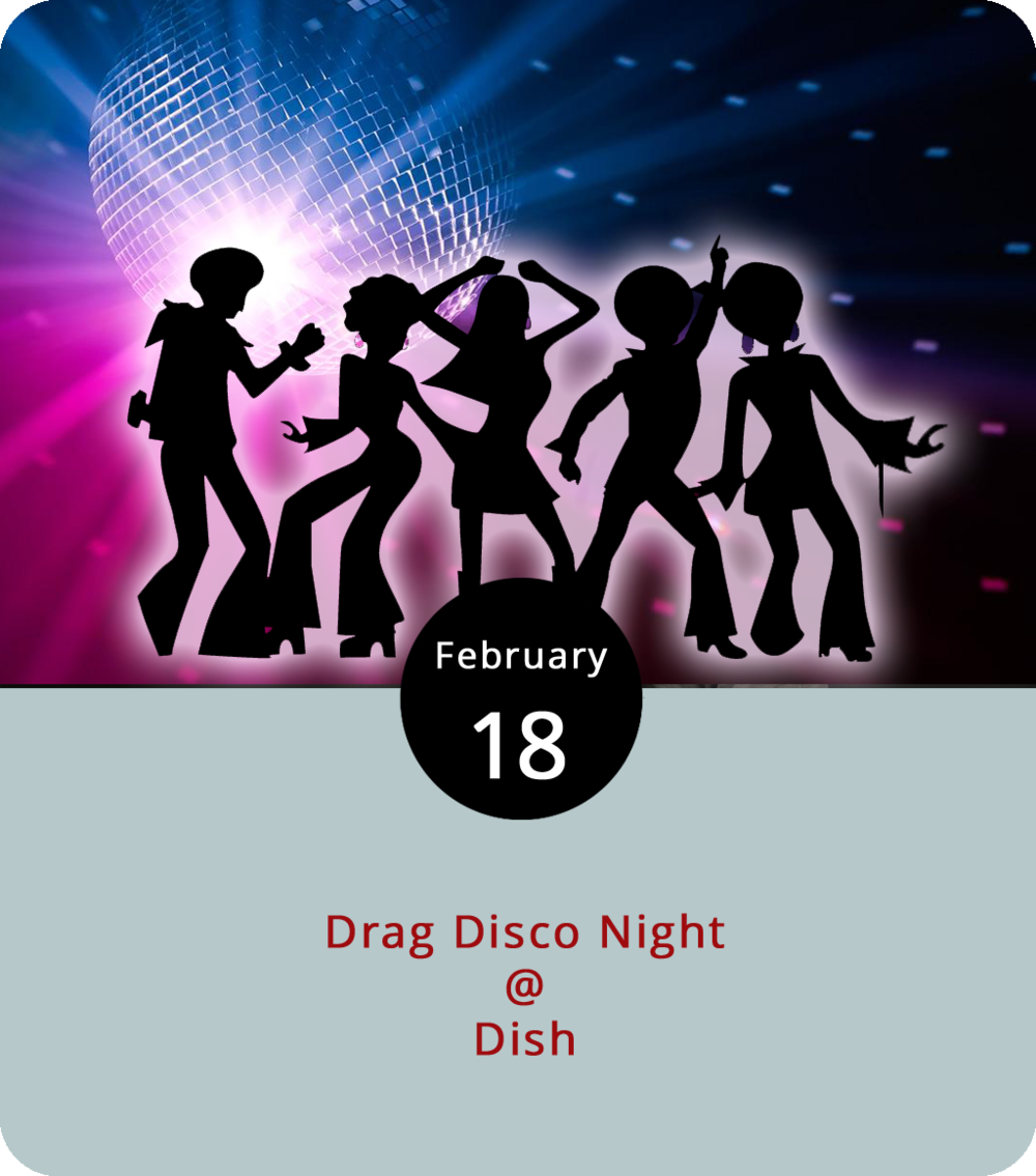 Things could get a little bit dishy at Dish (1120 Main St.) this evening, when the Diversity Center hosts what should be a quite colorful drag disco night. The performers Amazon Rome, Aria Vain, Holly Whatt, and Destiny Shaw will be on hand, doing their thing from 8 p.m. to midnight. It's a fundraiser for the Diversity Center, a nonprofit advocate and cultural center for people in the LGBTQ+ community. The cover is $8. Click  here  or call (434) 528-0070 for more info.