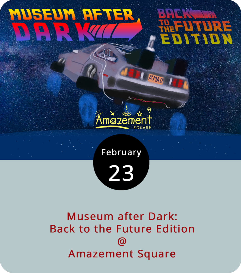 Where we're going this evening, we don't need roads…because Amazement Square (27 9th St.) has chutes, ladders, and slides connecting every floor. Tonight the educational play palace hosts a Back to the Future edition of Museum After Dark, an adults-only opportunity for a little playtime from 6:30-10:30 p.m. The event features libations from Devil's Backbone, Bold Rock Cidery, Apocalypse Ale Works, and Blue Mountain Brewery, and food from a handful of local restaurants. Guests will be asked to imagine that they must collect plutonium to fuel a Delorean through a series of activities and tastings. Tickets are $35. For more information, click  here  or call (434) 845-1888.