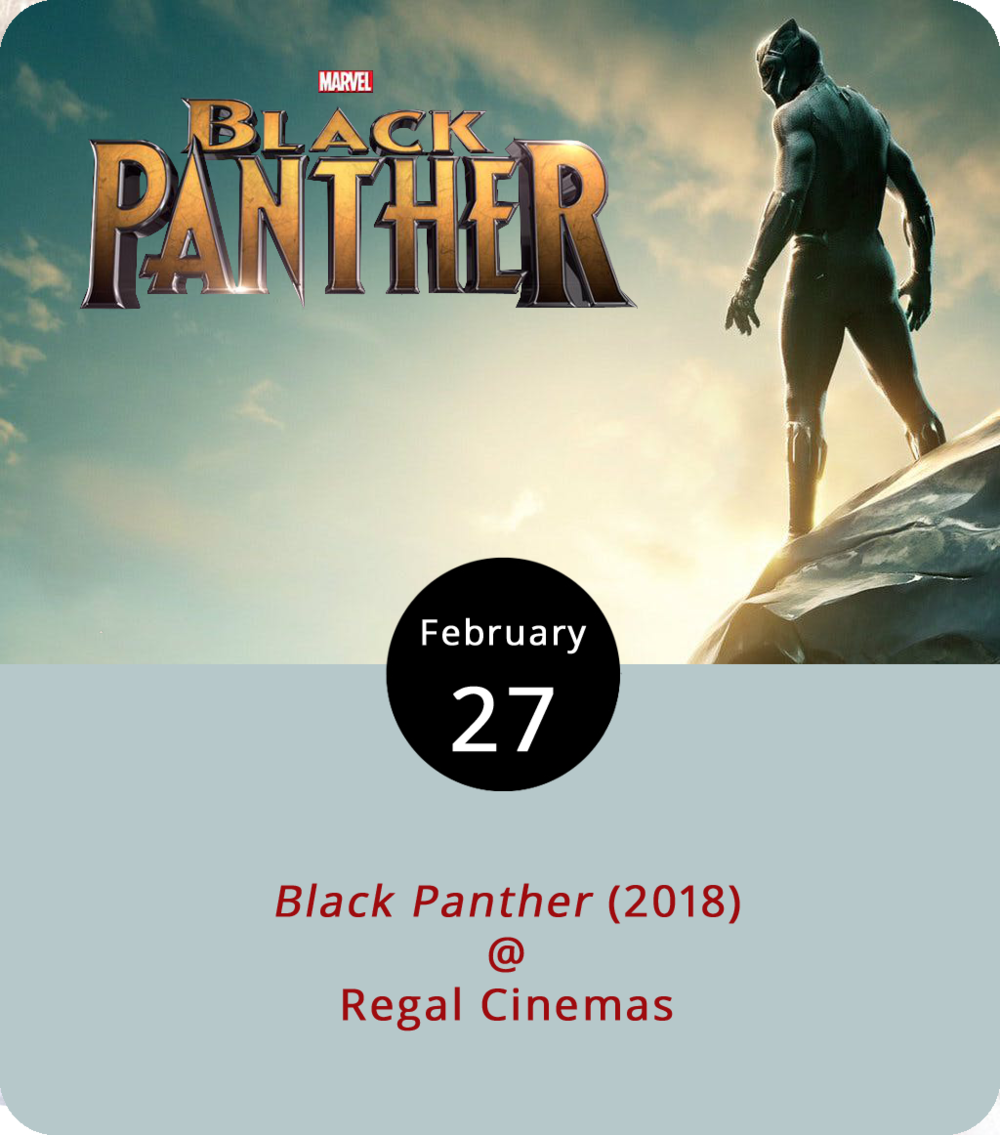 For more than a week now,  Black Panther  (2018) has been playing at theatres, which leaves us with one question: Why haven't you seen it? Directed by Ryan Coogler, the film catches up with T'Challa (Chadwick Boseman), prince of the hidden African state Wakanda, after his father, the king, is murdered. That happened at the beginning of  Captain America: Civil War  (2016). He's quickly crowned his father's successor in the country with advanced technology powered by a fallen vibranium meteor (the same indestructible material as Captain America's shield) and fueled by the scientific creativity of his younger sister Shuri (Letitia Wright). Conflict ensues when a challenge to the Wakanda throne is posed by Erik Killmonger (Michael B. Jordan). Showtimes will vary so check out the Regal Cinemas (3411 Candlers Mountain Rd.)  website  for more info or call (434) 582-1661.
