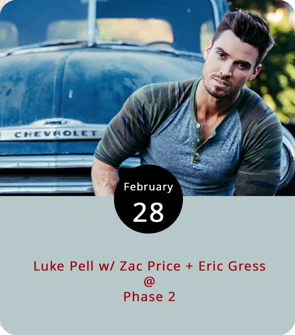 Although participating in a dating show like  The Bachelorette  isn't the most conventional path to a music career, it also isn't totally disqualifying. Luke Pell is a Texas native, West Point grad, and  Bachelorette  survivor who's now working it as a touring country singer. He performs at Phase 2 (4009 Murray Pl.) on a bill with Roanoke country singer  Zac Price  and  Eric Gress  out of Pulaski. By the way, Pell was a runner-up in the 2016  Bachelorette  season. Tickets are $10 for the all-ages show. For more information, click here or call (434) 846-3206.