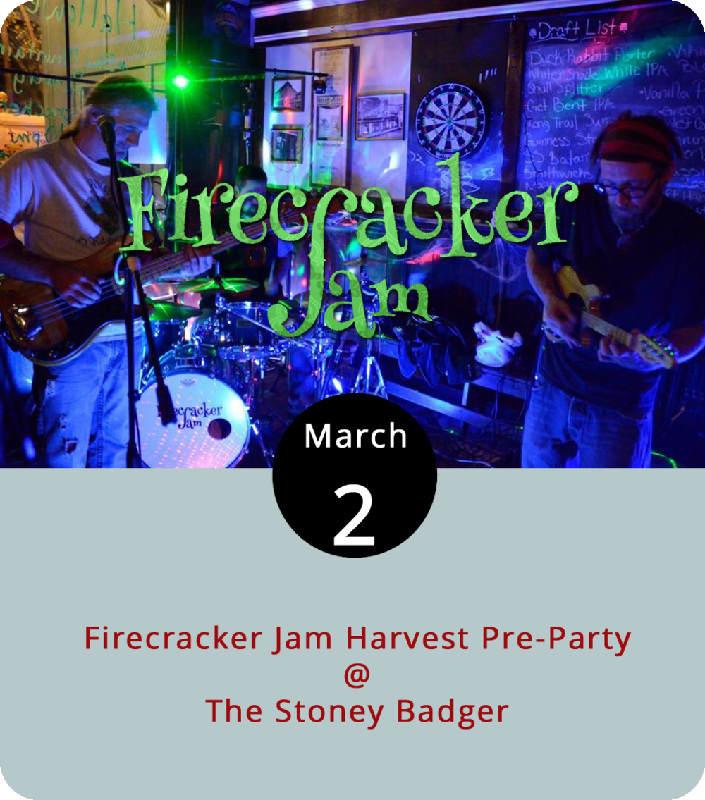 "Lynchburg's Firecracker Jam is one of the acts competing for a chance to play live at Lockn', a Nelson County jam-band festival that draws concertgoers from all over the world. They've got a showdown next week at the  Harvester Performance Center  in Rocky Mount, where they'll compete to be one of the two regional bands chosen to move on to a final round. They're warming up their mandolins with a gig tonight at  the Stoney Badger  (3009 Old Forest Rd.). Check out the jam-oriented band's ""slamgrass"" stylings  here . Tonight's show starts at 9 p.m. For more information, click  here  or call (434) 384-3004."