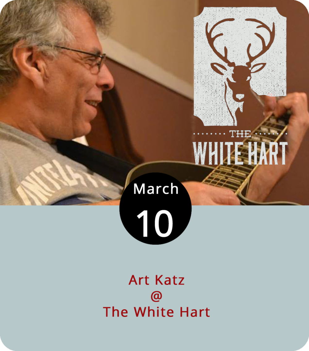 "There aren't too many artists whose musical quiver includes a shipping container. That's just the kind of guy Art Katz is. He'll perform a solo acoustic set tonight at The White Hart (1208 Main St.) that is likely to feature his particular brand of rock n' roll as well a ""cornucopia"" of other musical genres and whatever he's feeling today. He generally plays with the band Winter Harvest, so check out their  music  to get an idea of what to expect. The show is from 7-9 p.m. For more information, click  here  or call (434) 207-5600. Check out The White Hart  menu  before heading over."