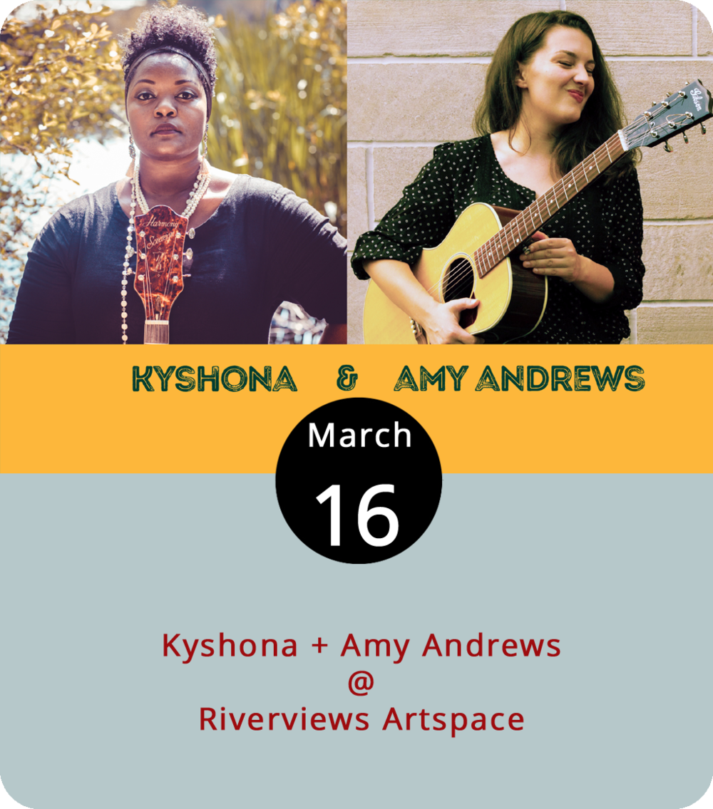 "Whenever Riverviews Artspace (901 Jefferson St.) brings artists in for an intimate performance in the Rosel H. Schewel Theatre, they sell out pretty quickly. So if you want to see the pair of upcoming indie singers tonight, act now. Kyshona, named by NPR's Music  Cafe  Nashville as one of the top indie discoveries of 2017, projects her soulful voice in "" Same Blood ,"" written in response to the Charlottesville white supremacist rally that left one counter-protester dead. Amy Andrews' sound reaches similar depths, but with a slower rhythm conveying a tone not unlike a jazzy crooner, in "" Moon Song ."" She's on tour for her recent album ""My Best."" Tickets are $15 and seating is limited to 40. For more information, click  here  or call (434) 847-7277."