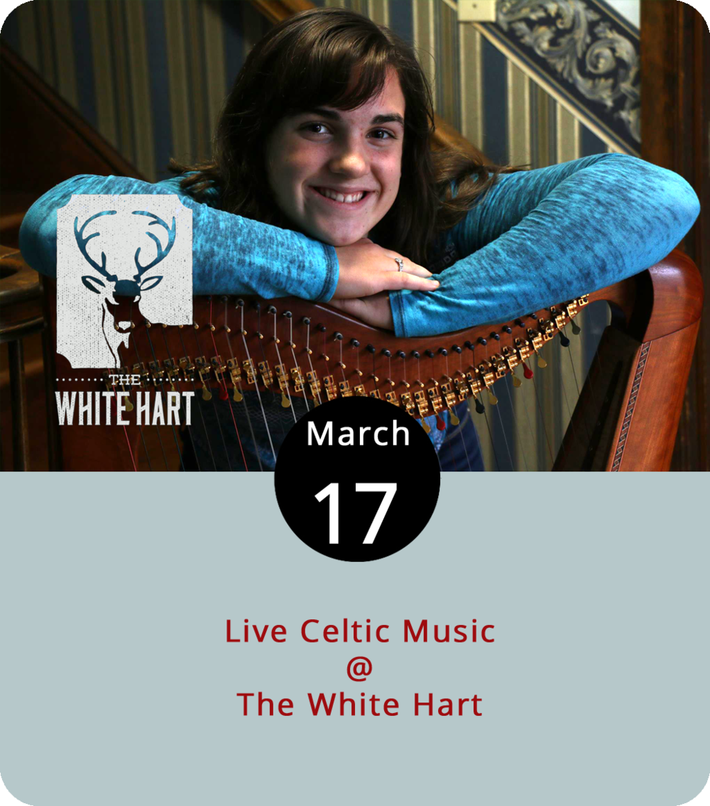 While the pub crawlers stumble along nearby, The White Hart (1208 Main St.) has a more toned  down St. Patrick's Day event. The coffee shop and restaurant will host a local harpist performing a Celtic music set from 7-9 p.m. tonight. Tonight is the third time that 14-year-old Celine Mason will pluck the angelic instrument at  The White Hart . For more information, click  here  or call (434) 207-5600.