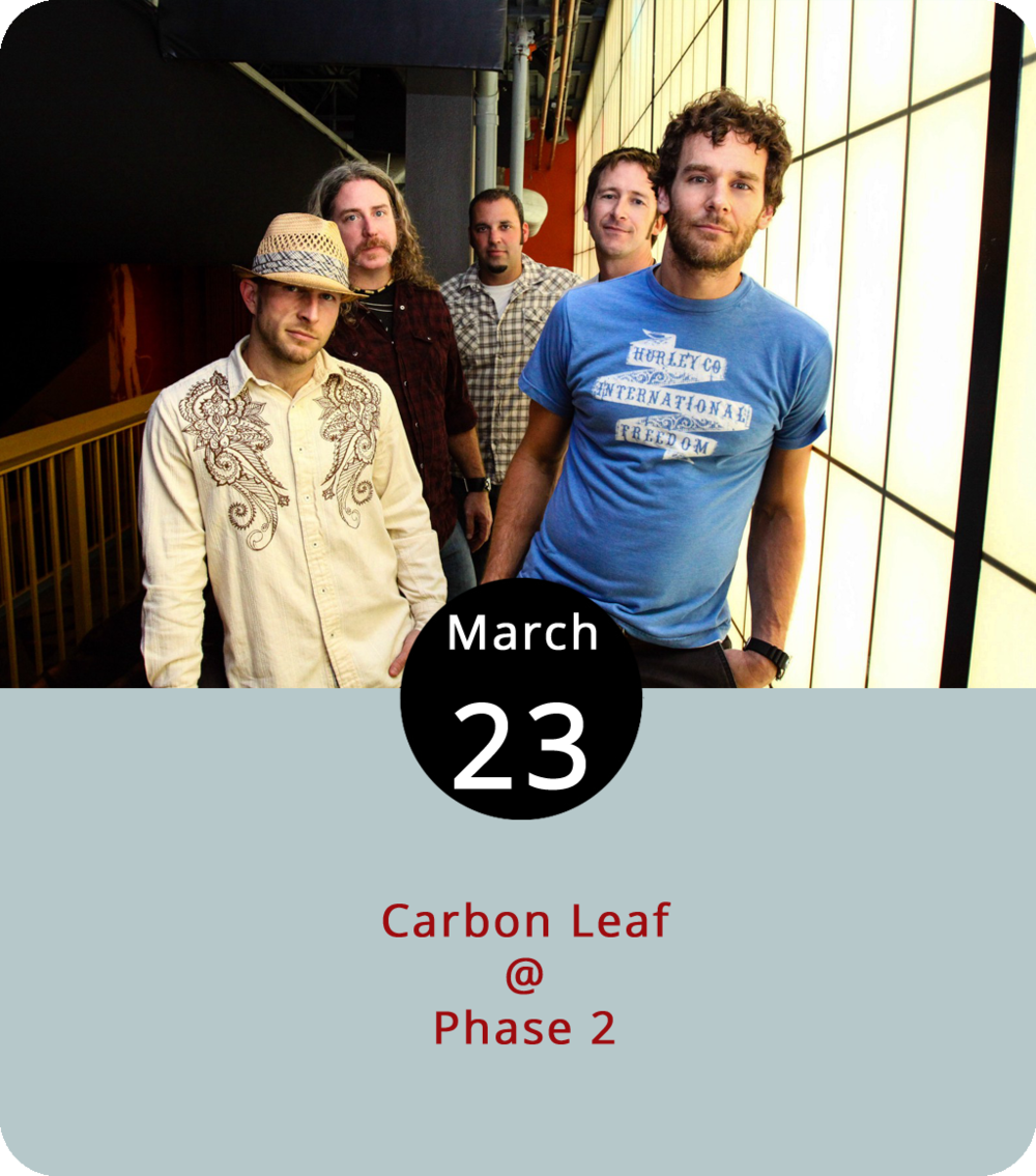 "For 25 years, the Richmond band Carbon Leaf have been cultivating what they like to call ""Ether-Electrified Porch Music,"" which happens to be the name of an album they released in 1999, just three years before they won an American Music Award and became the first unsigned band to perform at the AMAs. These days, they're still doing it the indie way, writing wistful and ethereal folk songs with a distinctly rootsy edge and crowdfunding new releases like  Indian Summer Revisited , a 2014 rerecording of a 2004 album ( Indian Summer ) that came out on Vanguard and brought them close to something approaching mainstream success. The band are in town tonight for a show at Phase 2 (4009 Murray Pl.). Tickets are $23 for the 8 p.m. show. Click  here  for tickets and info, or call (434) 846-3206."