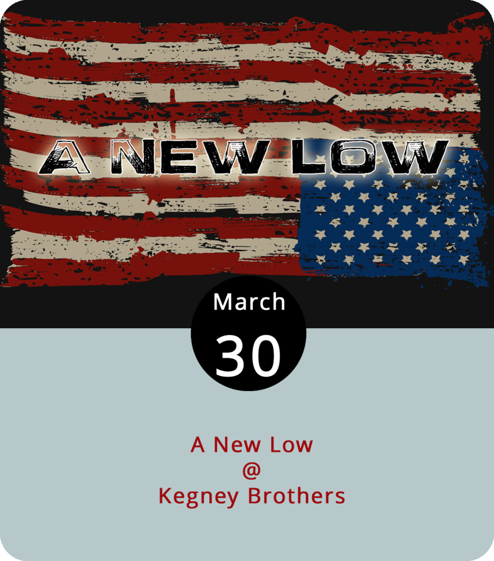 When the folk winds down at Riverviews, we're gonna recommend heading over to Kegney Brothers (1118 Main St.) for a night of great rock on a Good Friday. The staff of LynchburgDoes – or, at least, most of 'em – will be in the house performing as part of A New Low, a locally sourced, single-batch, artisanal foursome featuring LD publisher Matt Ashare (bass and guitar) and LD web guru Jay Oliveira (guitar), along with EC Glass drum line master Chris Fosnaugh (drums) and writer-at-large Vic Sizemore (vocals). Come say hello between sets and ask for a free CD, a LynchburgDoes sticker, or gardening advice. The music begins at 10 p.m. and goes until closing time, which is usually around 1:30 a.m. There's no cover charge. Call KBs at (434) 616-6691 or click  here  for Facebook event info. You can take a gander at the KB menu  here .
