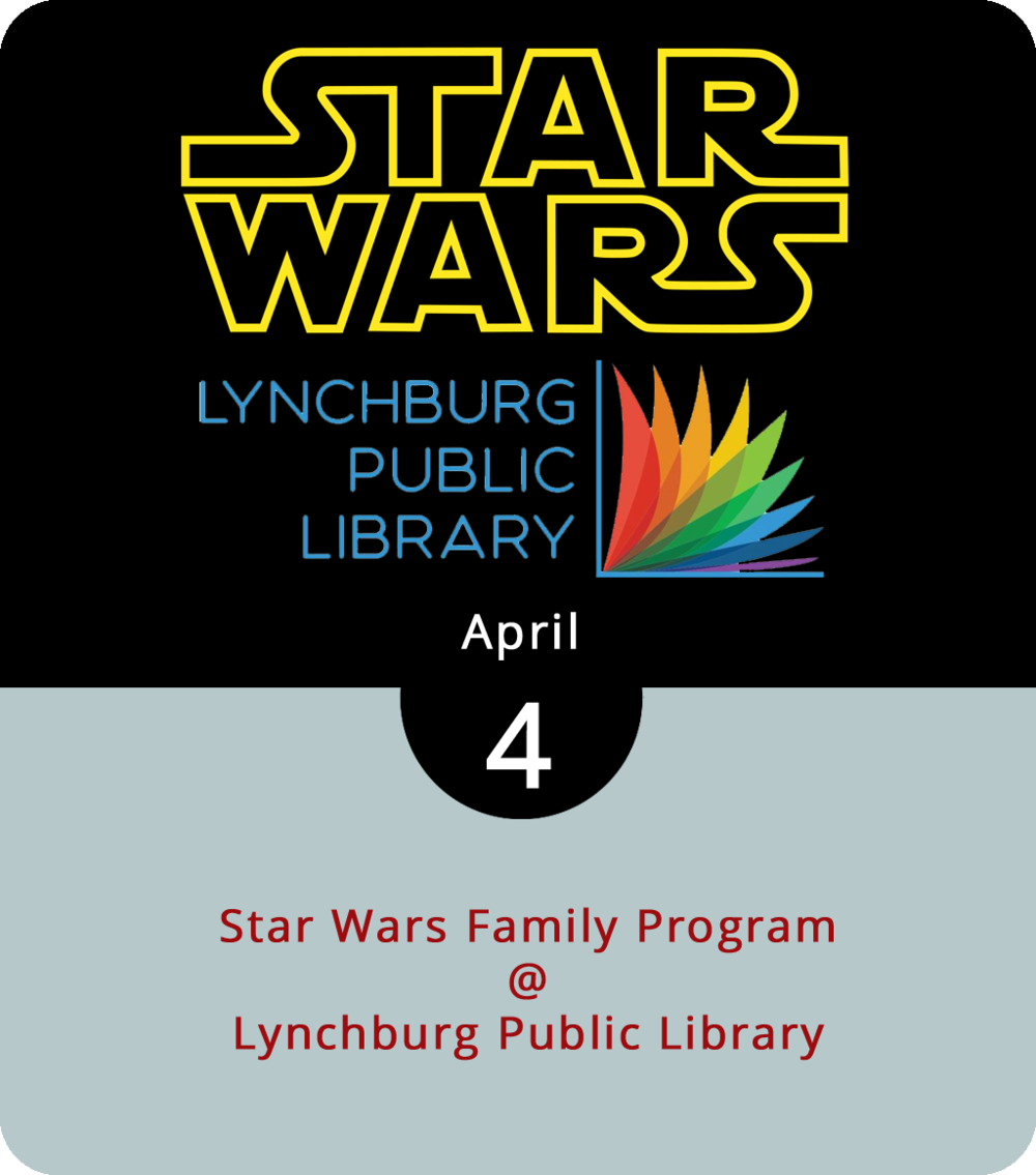 There are precious few pop culture franchises with more generational crossover appeal than  Star Wars . Parents know Luke Skywalker as a young Padawan from the desert. Kids are familiar with the greyer, wiser, and grumpier Jedi. And, for reasons no one can quite figure out, everyone kinda loves Boba Fett. Lynchburg Public Library (2315 Memorial Ave.) celebrates  Star Wars  with a family program from 11 a.m. to 1 p.m. Children are encouraged to dress up as their favorite character while taking part in themed crafts and trivia games. For more information, click  here  or call (434) 455-6300.
