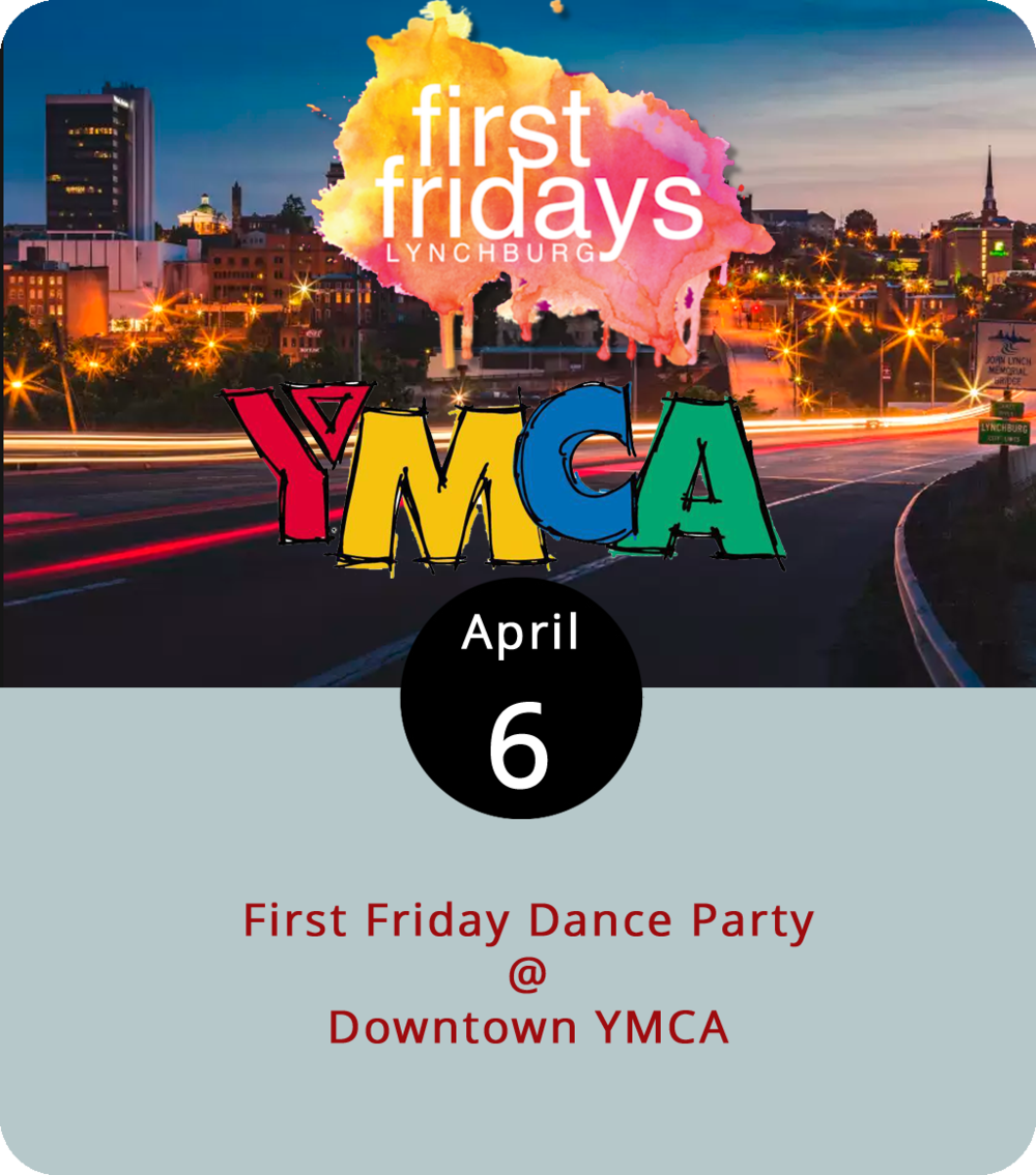 Mustering the motivation for a gym workout doesn't sound nearly as inviting as a dance party. With this in mind, the Downtown YMCA (1513 Church Street) is pulling a good kind of fast one this evening by using its gym space for an hour-long, First Friday dance party starting at 6 p.m.    Get your heart rate and your spirits up by moving and grooving to some popular grooves. Members can bring a guest for free. Click  here  for more info or call (434) 847-5597.