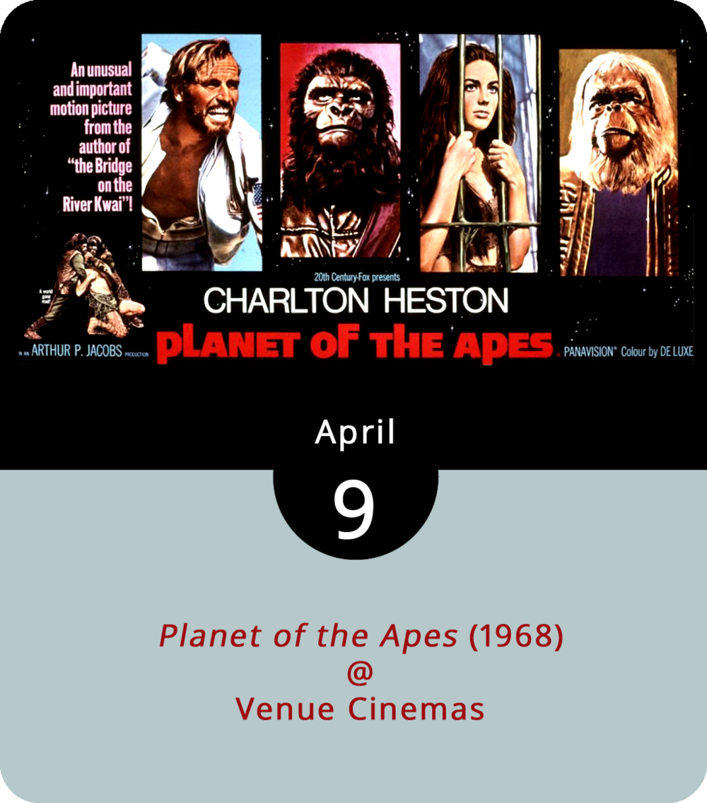 Having hoisted the Ten Commandments and led his people out of Egypt in good Passover fashion, the late Charlton Heston returns to the big screen at Venue Cinemas (901 Lakeside Dr.) in one of his more memorably tortured roles, as an astronaut who crash lands on a strangely familiar planet ruled by chimps, gorillas, and orangutans. Yep , it's the original, pre-CGI  Planet of the Apes , which was based on a 1963 novel by French author Pierre Boulle. We don't want to spoil the surprise ending, but it does turn out that Heston's not quite as far from home as he thinks. Now 50 years old, the film screens at Venue Cinemas (901 Lakeside Dr.) with showtimes to be announced. For more information, click  here  or call (434) 845-2398.