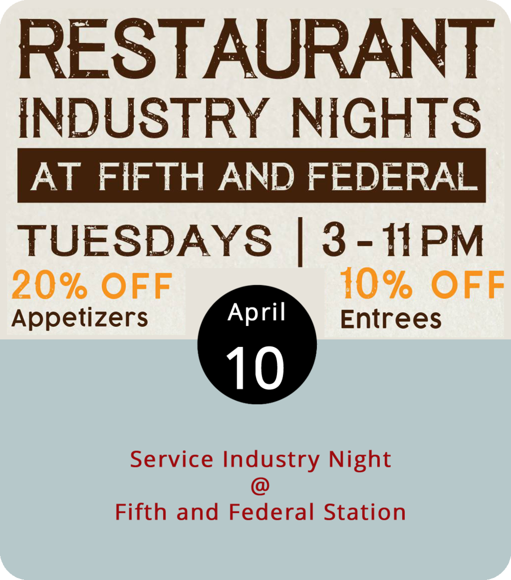 Here's an idea: buy your favorite waitperson, bartender, and/or kitchen staffer a drink or two this evening at Fifth & Federal Station (801 Fifth St.). We can't guarantee that they'll all be there (somebody's gotta work), but Tuesday is service industry night at Fifth & Federal, which means the establishment will be extending professional courtesy to anyone who serves food and beverages on other nights of the week. From 3 p.m. until close (around 11 p.m.), it's 10% off entrees and 20% off apps for qualifying patrons. We're told that the playing of Joking Hazard and Cards Against Humanity will be encouraged. Click  here  to see a menu and call (434) 386-8113 for more info.