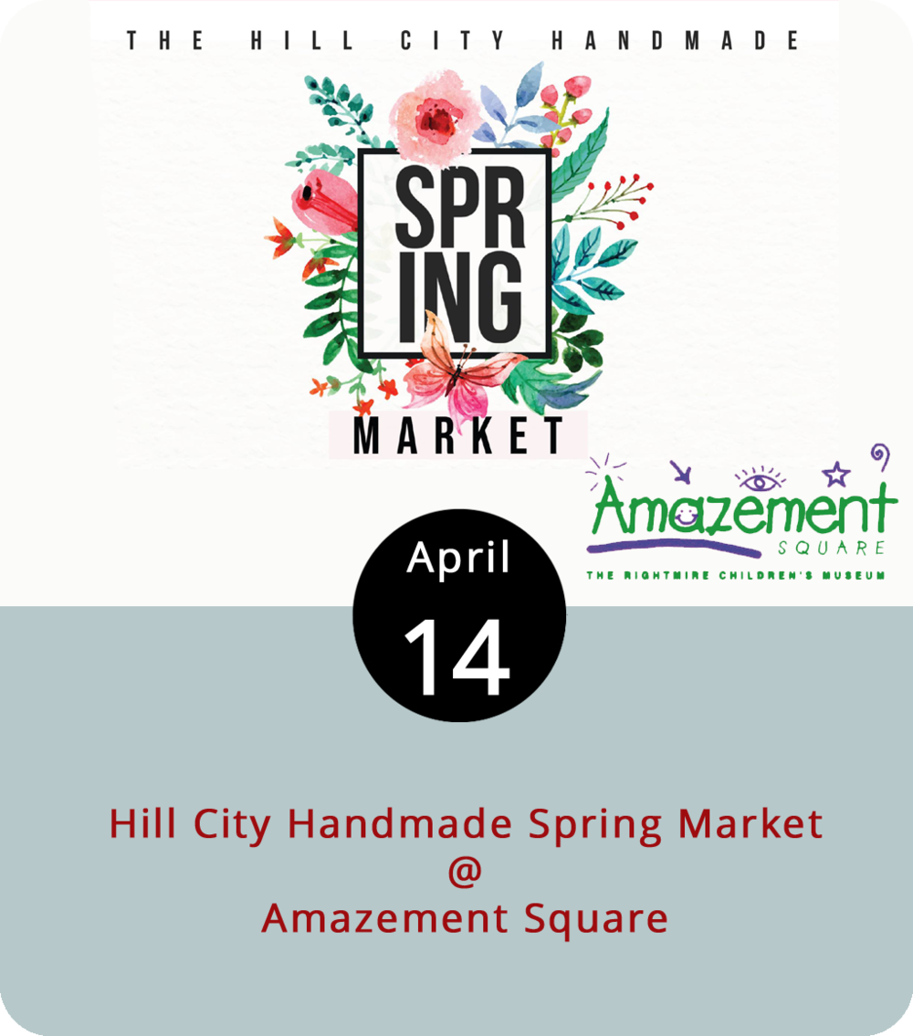 "The Amazement Square Holiday Market sold out back in November, so make a game plan and show up early to the Hill City Handmade Spring Market. The crafts and wares go on sale at 9 a.m. for early-bird ticket holders ($10) at the Amazement Square Education Center (27 9th Street), which has both indoor and outdoor space for vendors and food trucks. For a full list of ""makers,"" including crafters of knits, jewelry, pottery, and body and skincare emollients, click  here . The general public will be allowed in at 11 .m. for an entry fee of $3. Call (434) 845-1888 for more info."