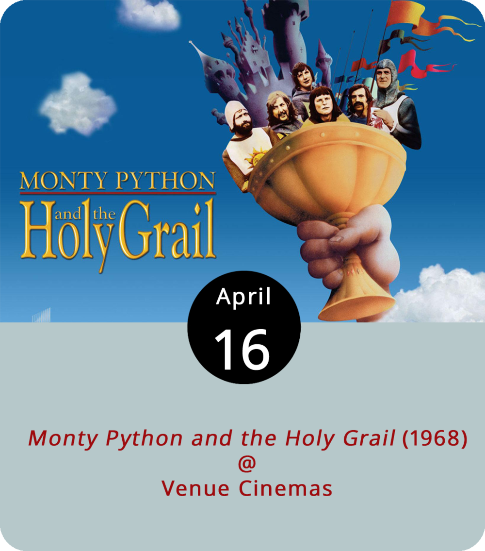 At Graham Chapman's funeral, his close friend and writing partner John Cleese began what seemed to be a solemn eulogy and, with expert satirical seriousness, insulted his former  Monty Python  pal. It was Chapman who took on the role of King Arthur in  Monty Python and the Holy Grail  (1968), a brilliant send-up of the round-table legend. In the film, Cleese is the Black Night who squares off in a swordfight with Chapman, stands by his side as Sir Lancelot, and taunts him as an ornery, cattle-tossing Frenchman. The film screens at Venue Cinemas (901 Lakeside Drive) through Friday, with showtimes to be announced. For tickets and more info, click  here  or (434) 845-2398.
