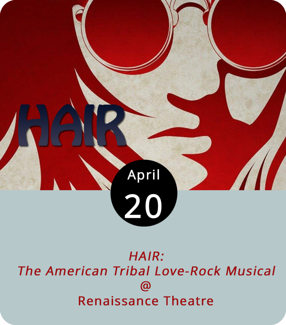 One of the many warm embraces between the hippie counterculture and sexual revolution yielded a phenomenon called  HAIR :  The American Tribal Love-Rock Musical . The irreverent play first debuted off-Broadway in 1967 and found cultural success that included some of its songs becoming anti-Vietnam war anthems. The Renaissance Theatre (1022 Commerce Street) is bringing the show to Hill City for eight shows starting tonight and Saturday. Doors open at 7:30 p.m. Ticket are $15 or $18 and can be found  here . For more info, call (434) 845-4427.