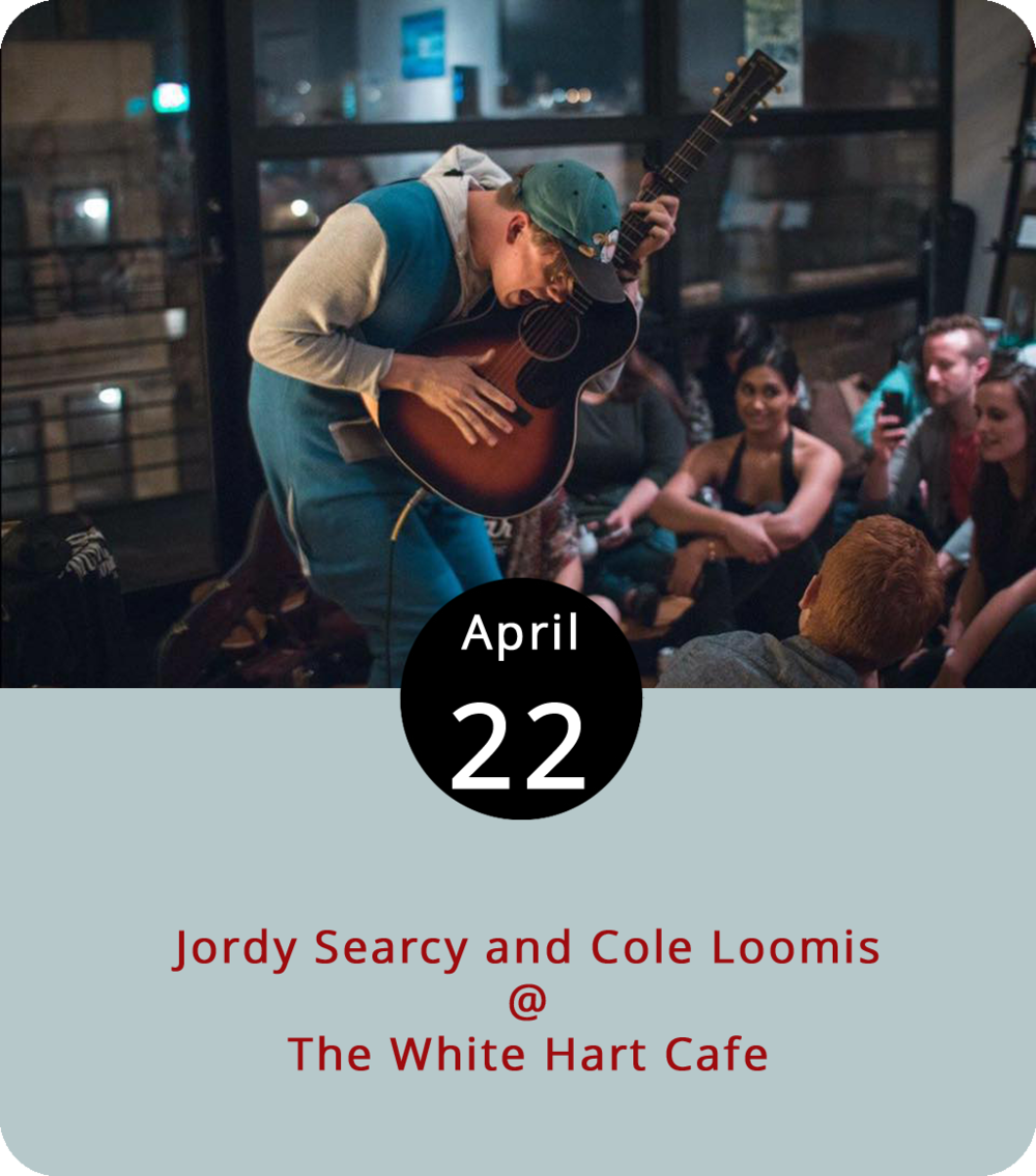 Music can't stop Monday from coming, but it can take your mind off the impending work week for an evening. With that in mind, consider making way to The White Hart Café (1208 Main Street) for the gentle sounds of Nashville native Jordy Searcy playing alongside Cole Loomis. Searcy is hailed as a captivating live artist that loops vocals through the soundhole of his guitar. He also plays unplugged and barefoot. The show starts at 7 p.m., and more information can be found  here .
