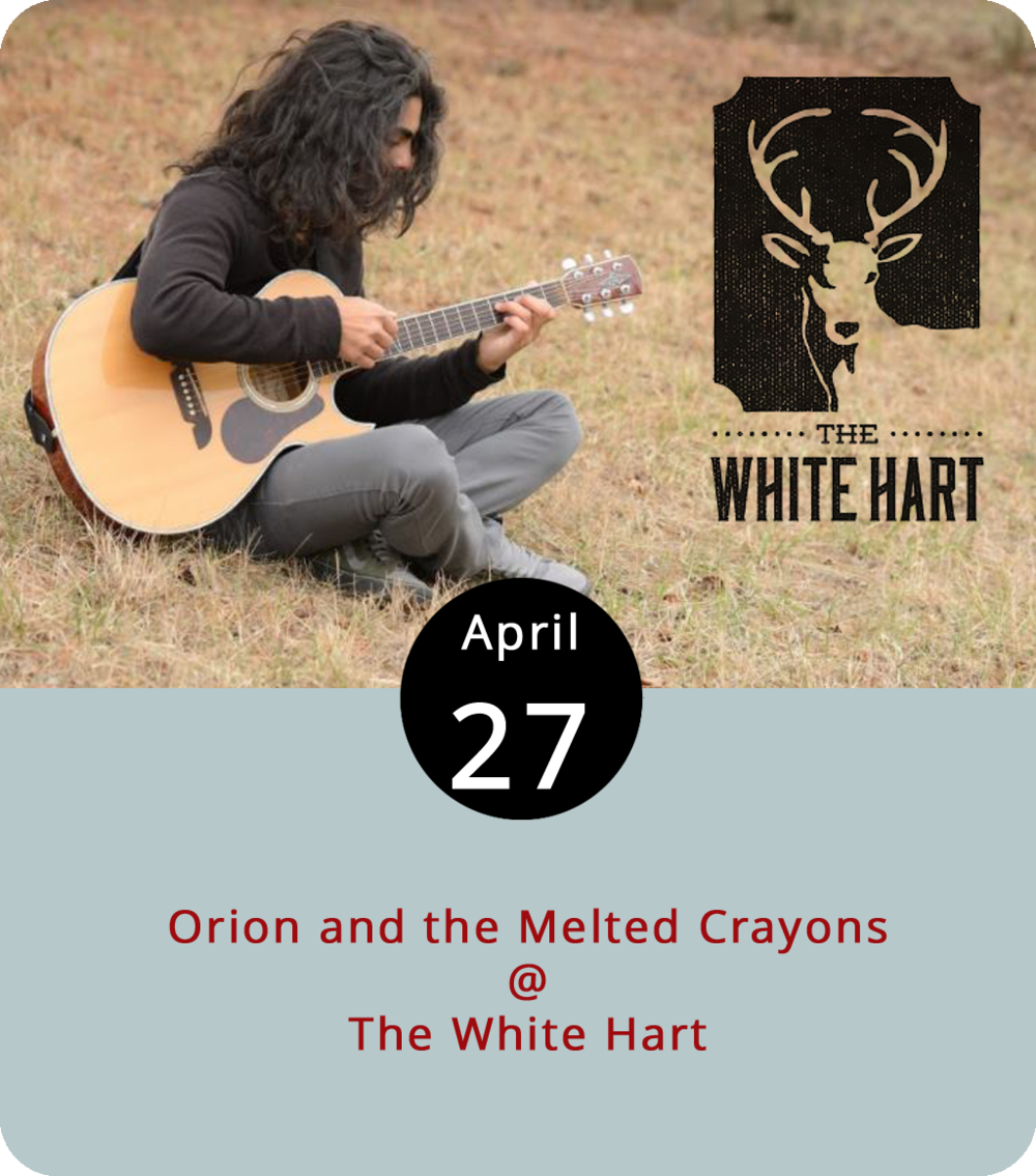 The White Hart Café (1208 Main St.) offers up some original music in addition to the regular menu this evening from 7 to 9 p.m. Orion and the Melted Crayons features Charlottesville-based singer-songwriter Orion Faruque and a band of multi-instrumentalists who specialize in simple melodies and sunny lyrics, which sounds about right for a coffeehouse-type show. Call the White Hart at  (434) 207-5600 or click  here  for more info.